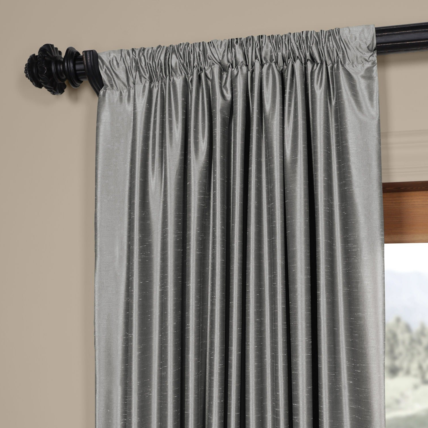 Well Liked Exclusive Fabrics Storm Grey Vintage Faux Textured Dupioni Single Silk  Curtain Panel Intended For Storm Grey Vintage Faux Textured Dupioni Single Silk Curtain Panels (View 19 of 20)