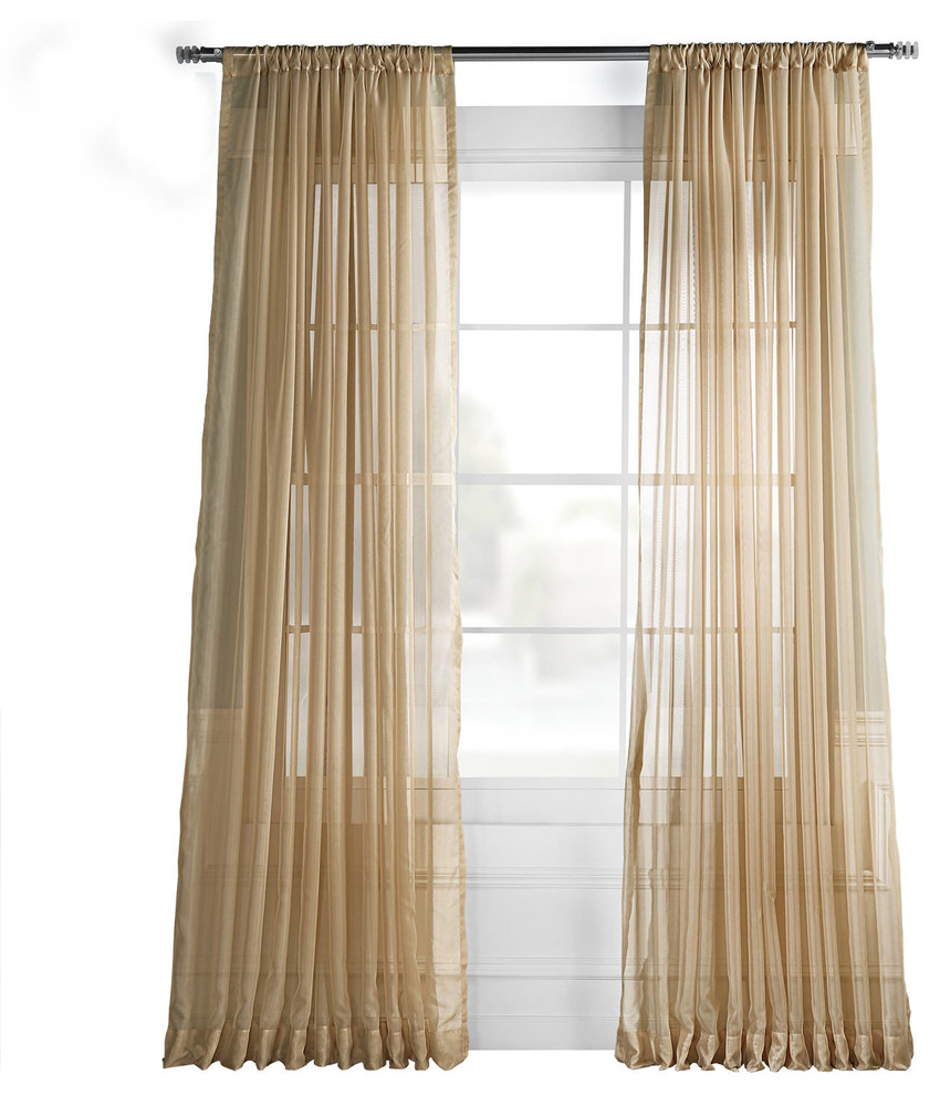 Well Liked Faux Silk Extra Wide Blackout Single Curtain Panels Throughout Extra Wide Solid Soft Tan Voile Poly Sheer Curtain Single Panel, 100w X 120l (View 10 of 20)