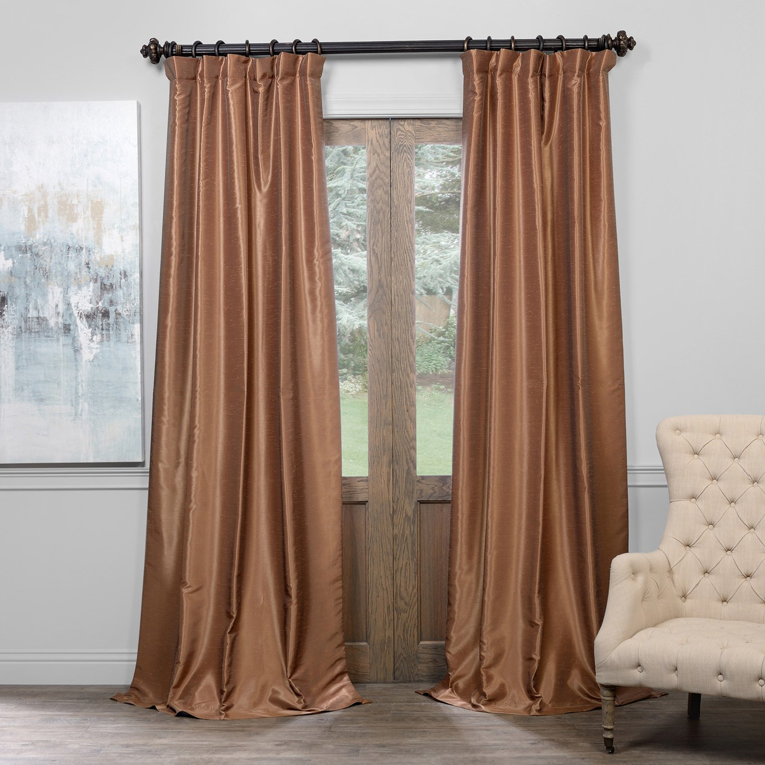 Well Liked Flax Gold Vintage Faux Textured Silk Single Curtain Panels Throughout Hpd Half Price Drapes Pdch Kbs8bo 108 Blackout Vintage Textured Faux Dupioni Curtain, Flax Gold, 50 X (View 10 of 23)