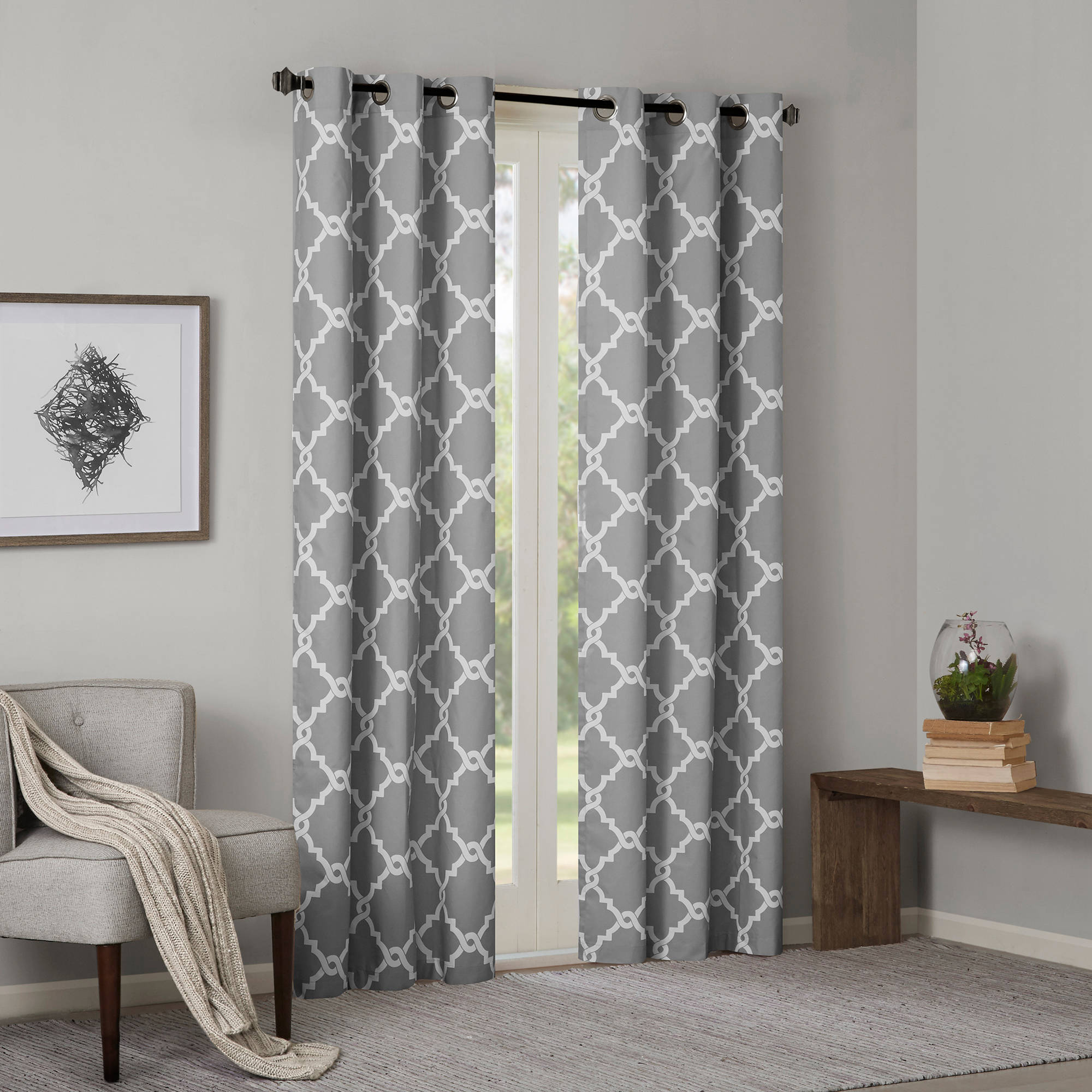 Well Liked Fretwork Print Pattern Single Curtain Panels In Home Essence Becker Fretwork Printed Window Panel Pair (View 19 of 20)