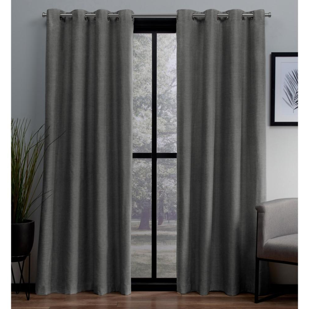Well Liked London Black Pearl Textured Linen Thermal Grommet Top Window Curtain Within Geometric Print Textured Thermal Insulated Grommet Curtain Panels (View 19 of 20)