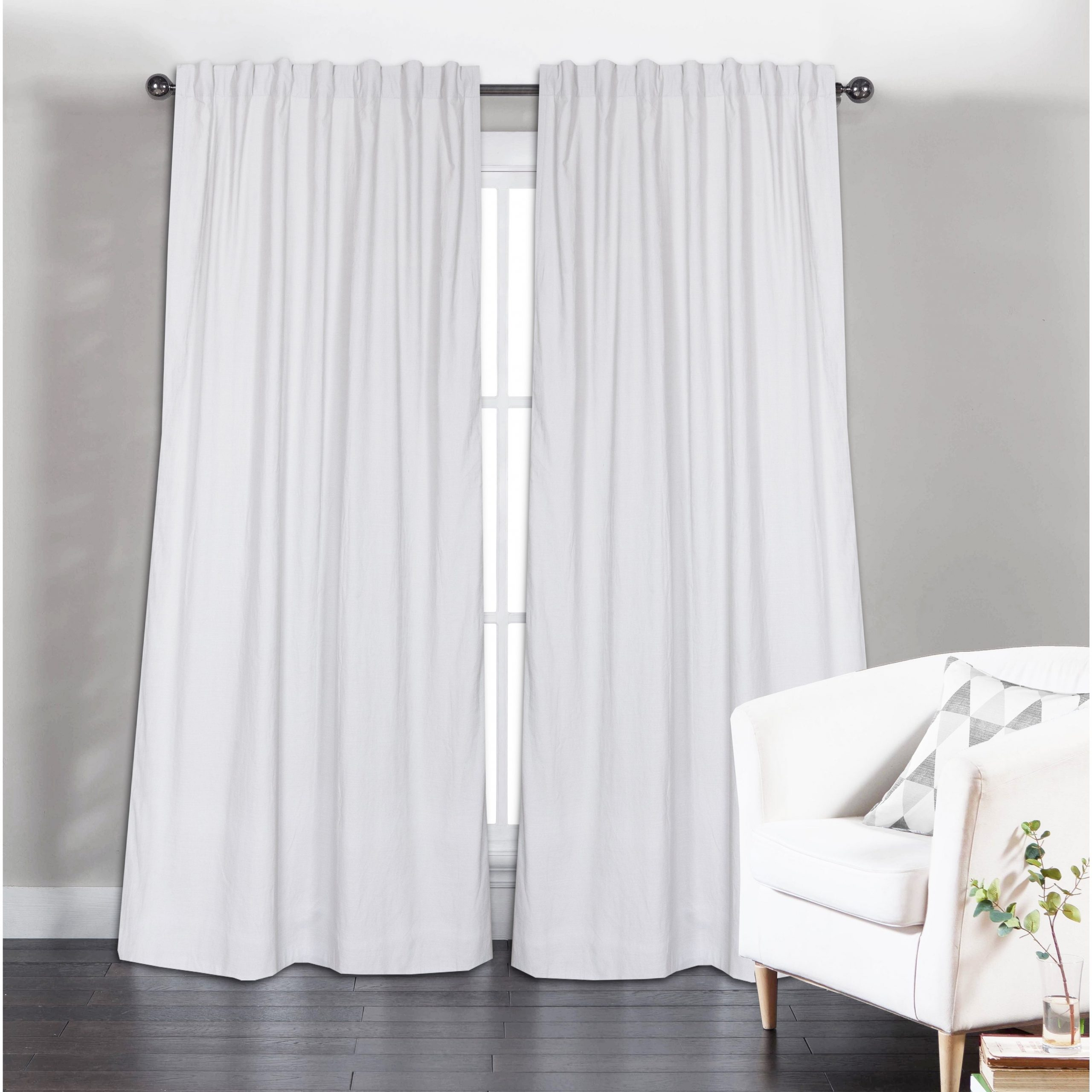 Well Liked Long Solid Cotton Curtain Panel, White(set Of 2) Inside Solid Cotton Curtain Panels (View 4 of 20)