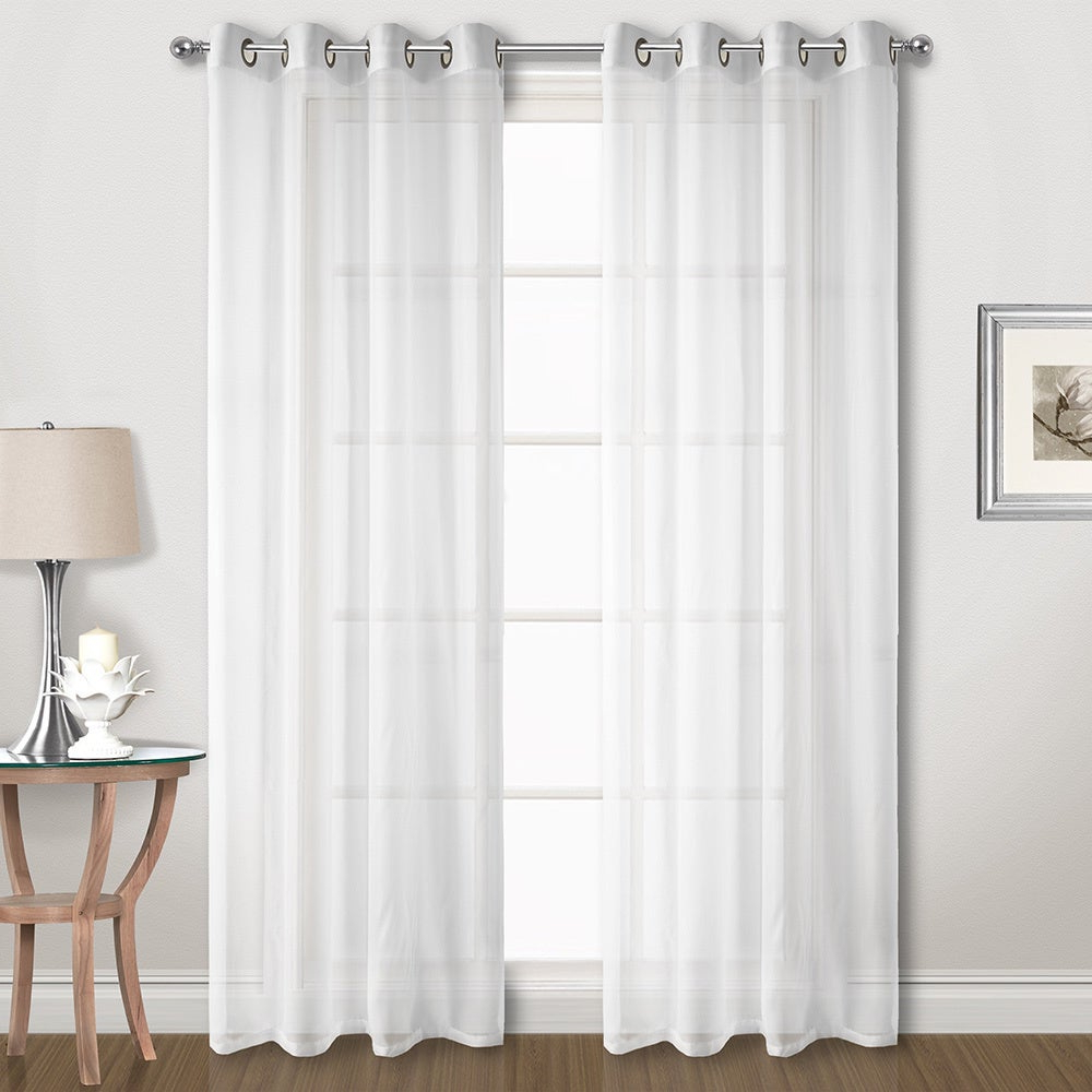 Well Liked Luxury Collection Extra Wide Grommet Sheer Voile Curtain Panel Pair In Extra Wide White Voile Sheer Curtain Panels (View 6 of 20)