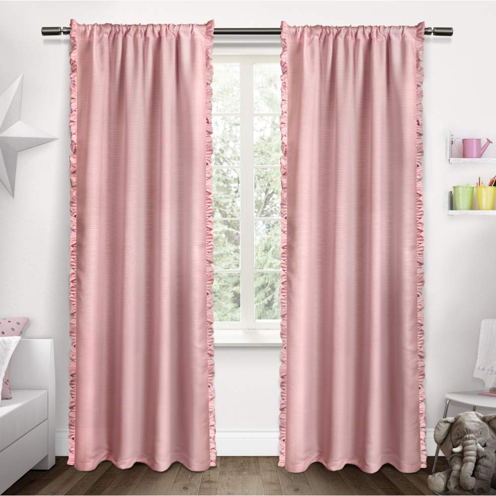Well Liked Lydia Ruffle Window Curtain Panel Pairs For Exclusive Home Curtains Ruffles Window Curtain Panel Pair With Rod Pocket, 54X84, Bubble Gum, 2 Piece (View 15 of 20)