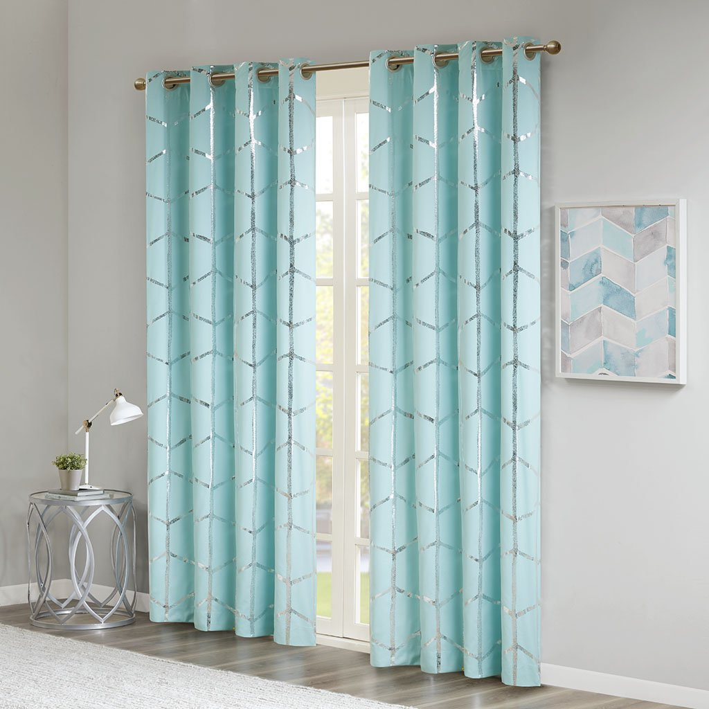 Well Liked Madison Park Raina Total Blackout Metallic Print Grommet Top Window Curtain Panel Thermal Insulated Light Blocking Drape For Bedroom Living Room And Pertaining To Total Blackout Metallic Print Grommet Top Curtain Panels (View 3 of 20)