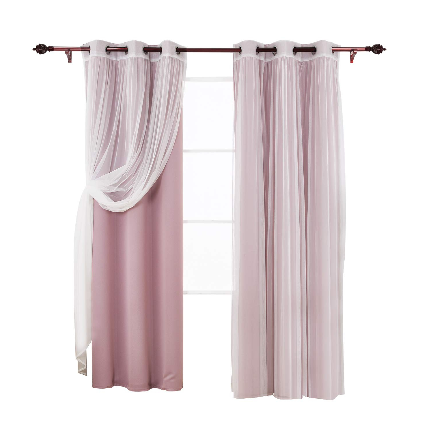 Well Liked Mix And Match Blackout Tulle Lace Sheer Curtain Panel Sets Inside Deconovo Mix And Match Curtain Set 2 Thermal Insulated Blackout Curtians Lavender And 2 Tulle Lace White Sheer Curtain Panels For Bedroom 4 Panels (View 17 of 20)