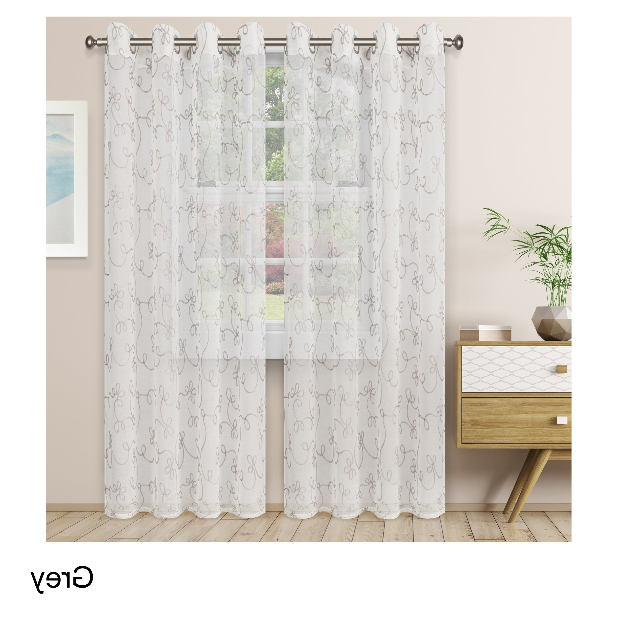 Well Liked Overseas Leaf Swirl Embroidered Curtain Panel Pairs With Regard To Superior Embroidered Scroll Sheer Grommet Curtain Panel Pair (View 3 of 21)