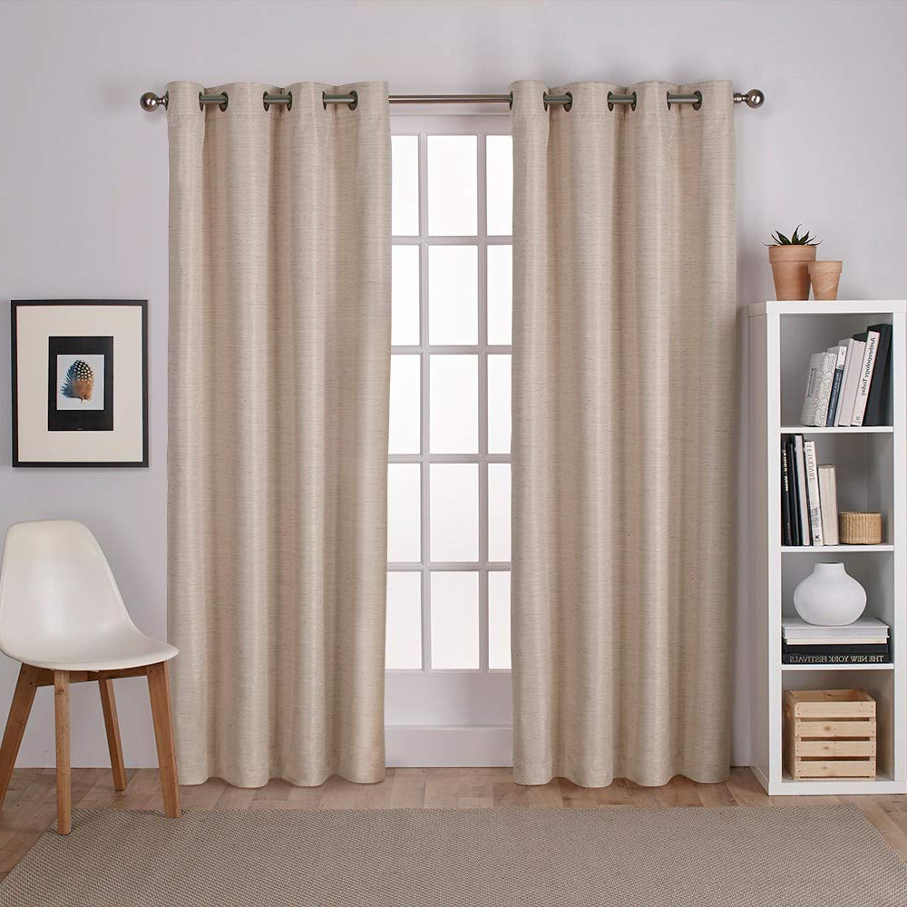 Well Liked Raw Silk Thermal Insulated Grommet Top Curtain Panel Pairs Pertaining To Exclusive Home Curtains Raw Silk Thermal Window Curtain Panel Pair With Grommet Top, 54x84, Taupe, 2 Piece (View 4 of 20)