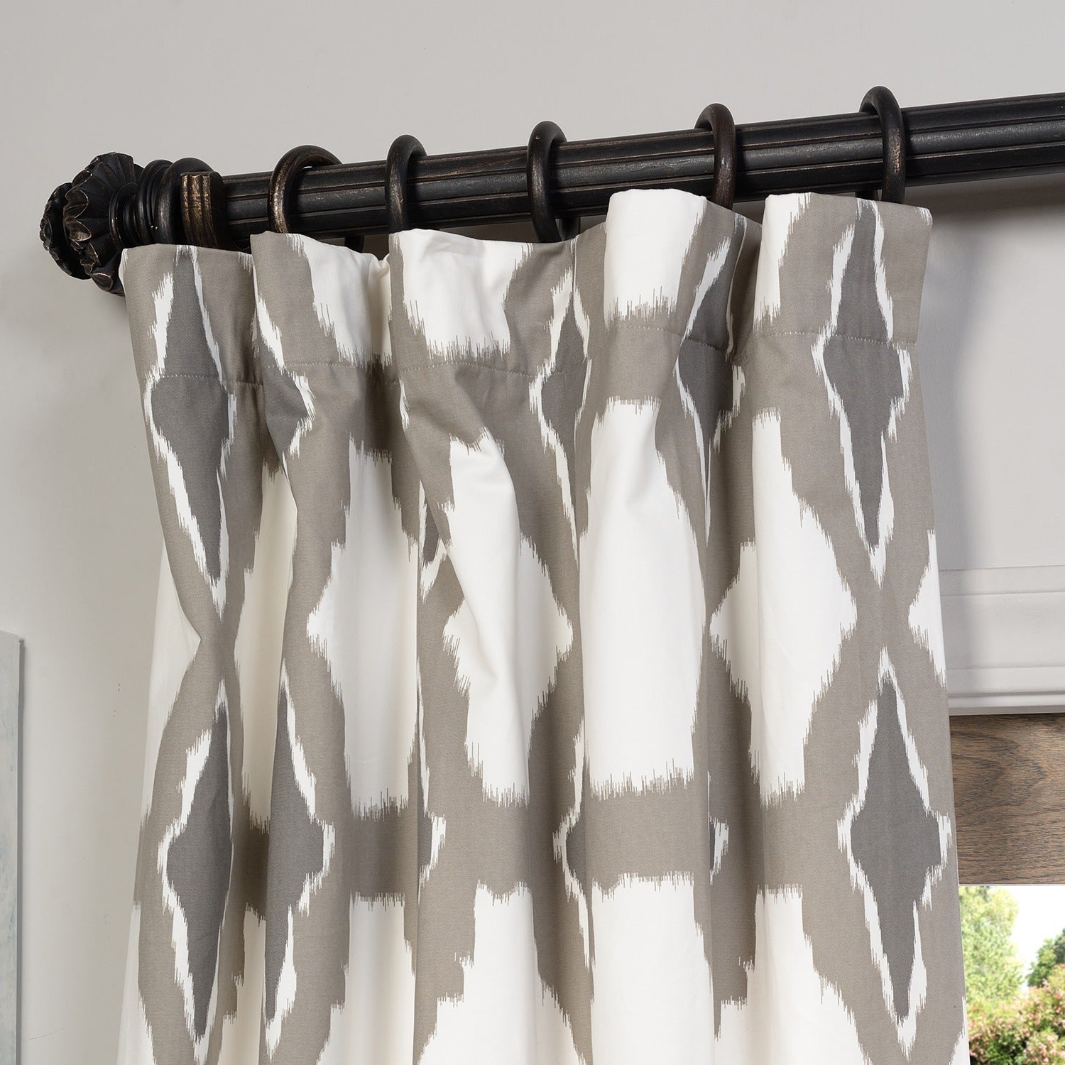 Well Liked Sarong Grey Printed Cotton Pole Pocket Single Curtain Panels Regarding Exclusive Fabrics Sarong Grey Printed Cotton Pole Pocket Single Curtain Panel (View 8 of 20)