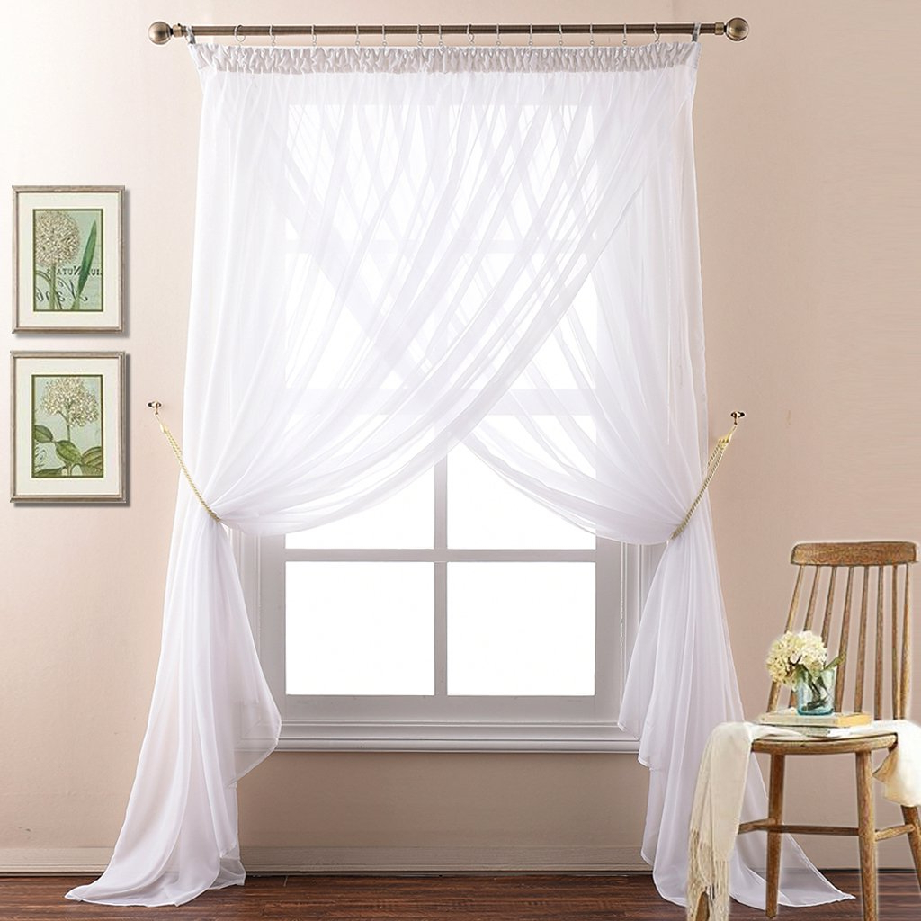 Well Liked Signature White Double Layer Sheer Curtain Panels With Regard To Nicetown 2 Layer Sheer Curtain Panels For Bedroom Elegant Double Layers Voile Draperies For Living Room(drape Tiebacks, Hooks And Rings Included, (View 12 of 20)
