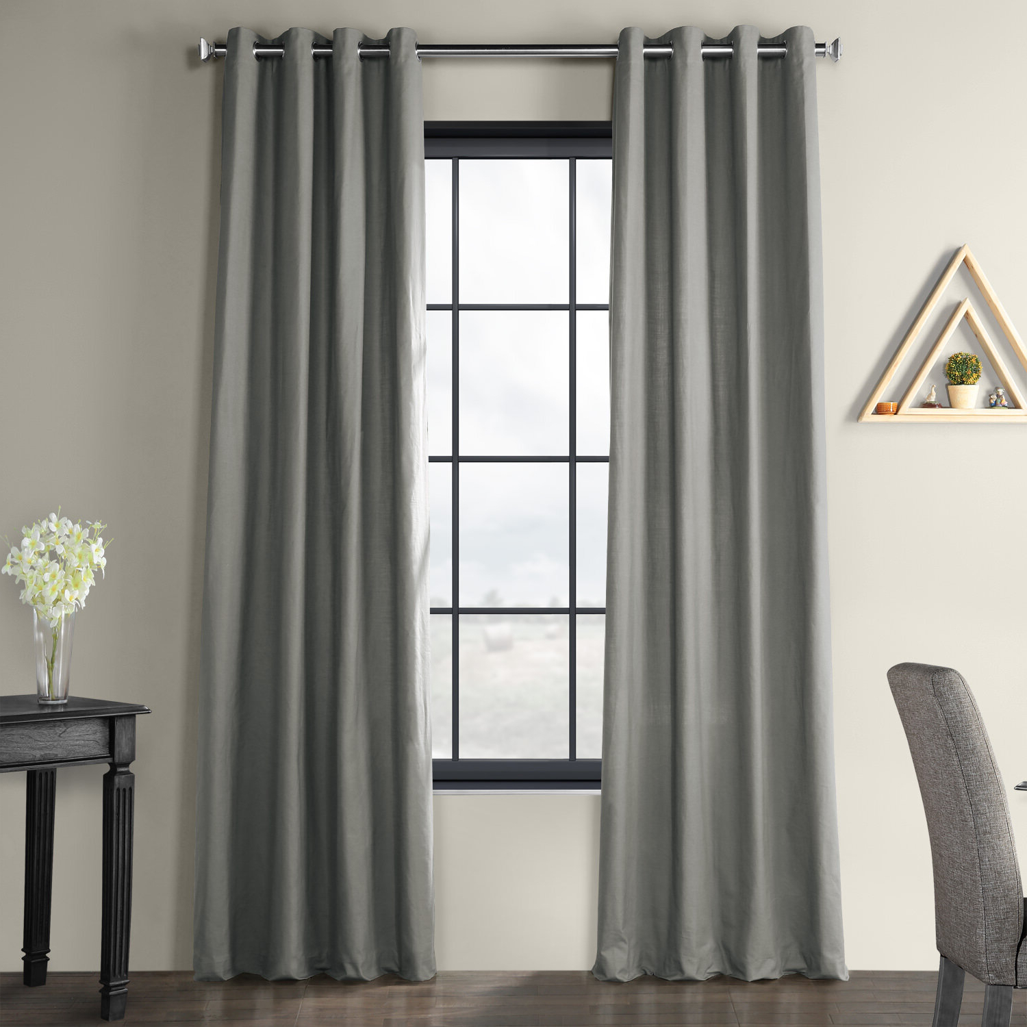 Well Liked Solid Country Cotton Linen Weave Grommet Indoor Single Curtain Pane Within Solid Country Cotton Linen Weave Curtain Panels (View 20 of 20)