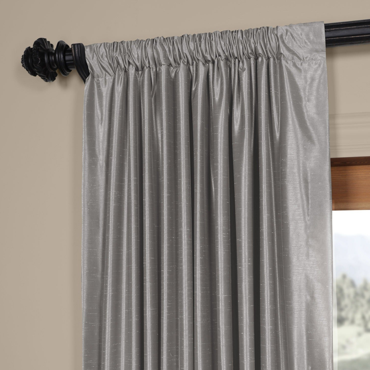 Well Liked Storm Grey Vintage Faux Textured Dupioni Single Silk Curtain Panels For Exclusive Fabrics Silver Vintage Faux Textured Dupioni Silk Curtain Panel (View 20 of 20)