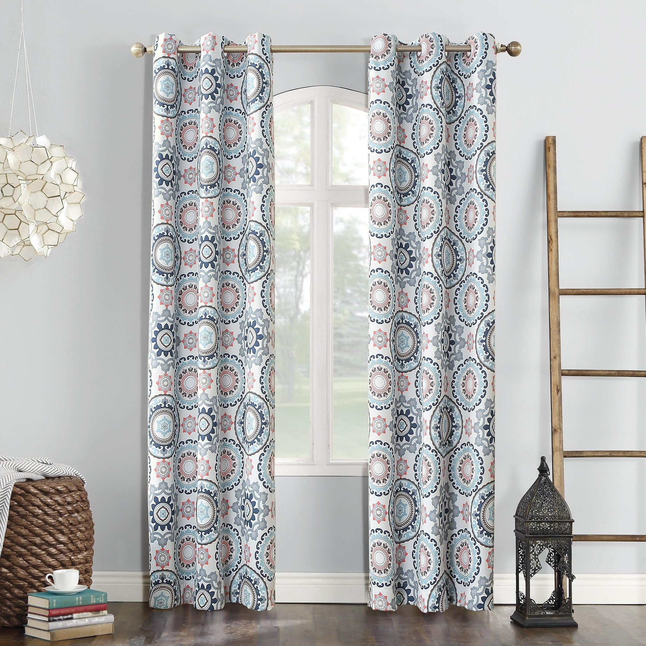 Well Liked Sun Zero Nepal Global Print Blackout Grommet Curtain Panel Inside Keyes Blackout Single Curtain Panels (View 13 of 20)