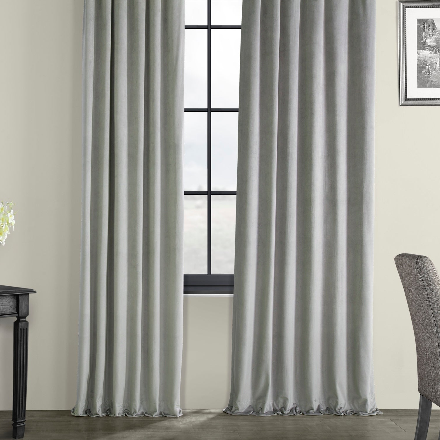 Well Liked Velvet Dream Silver Curtain Panel Pairs Regarding Exclusive Fabrics Signature Silver Grey Velvet Blackout Curtain Panel (View 8 of 20)