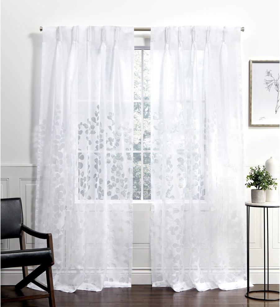 Well Liked Wilshire Burnout Grommet Top Curtain Panel Pairs Within Wilshire Burnout Sheer Pinch Pleat Curtain Panel Pair, Winter White, 27x (View 7 of 20)
