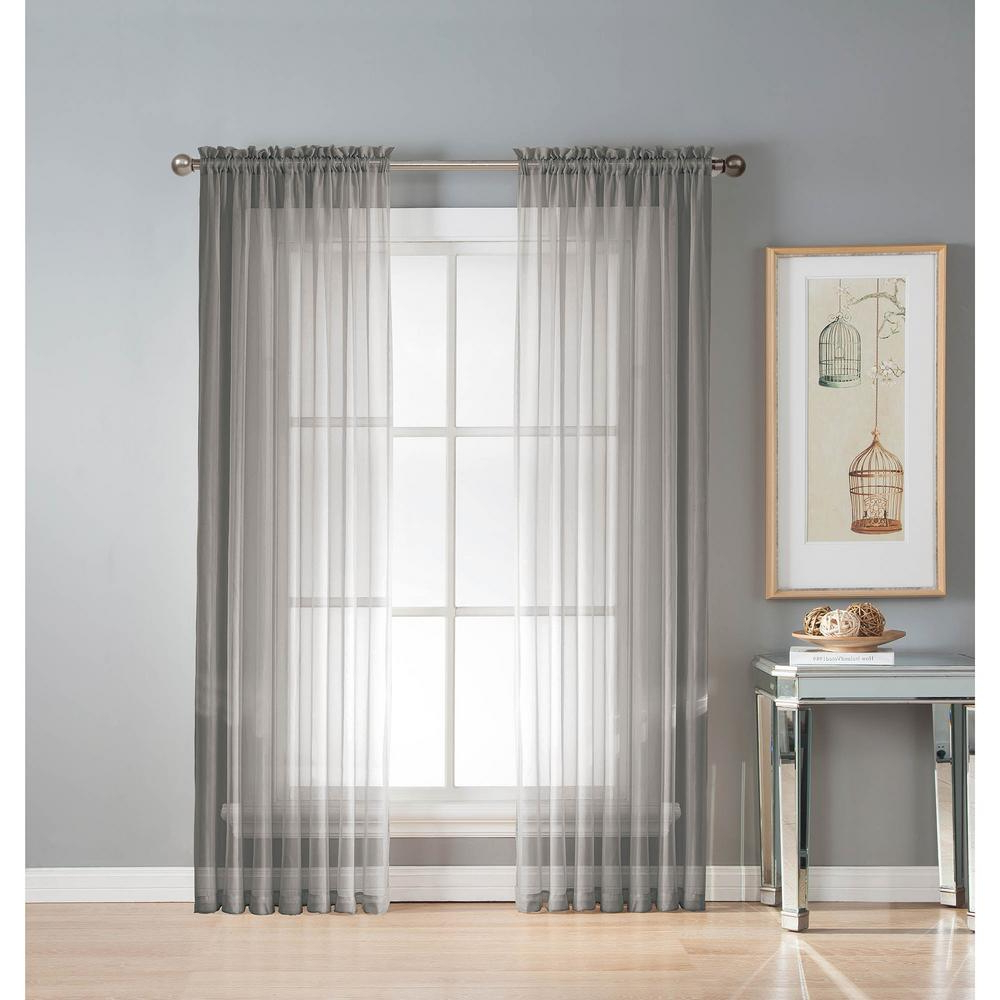 Well Liked Window Elements Sheer Diamond Sheer Gray Rod Pocket Extra Wide Curtain Panel, 56 In. W X 90 In (View 7 of 20)