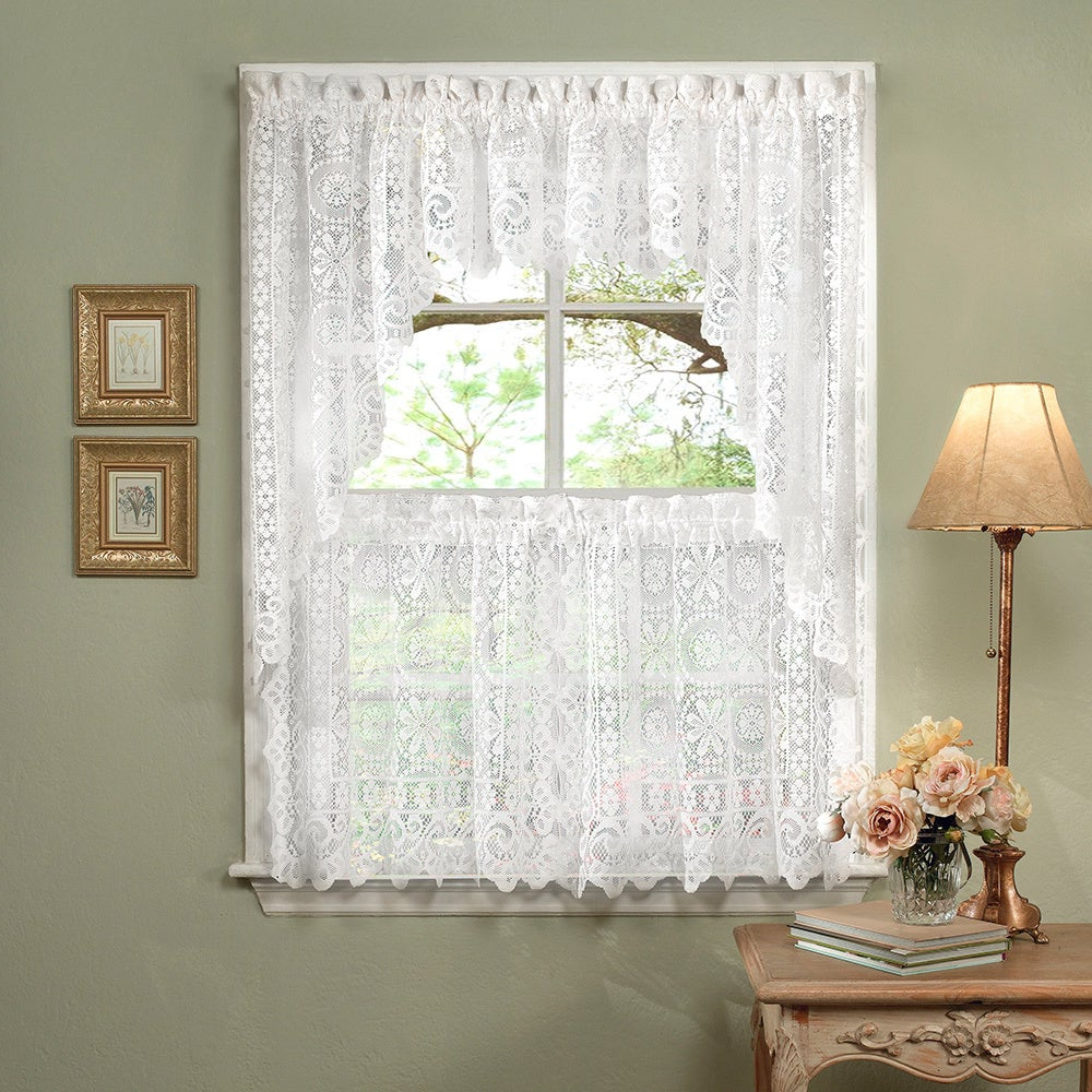 White Lace Luxurious Old World Style Kitchen Curtains Tiers, Shade Or Valances In Favorite Luxurious Old World Style Lace Window Curtain Panels (View 7 of 20)