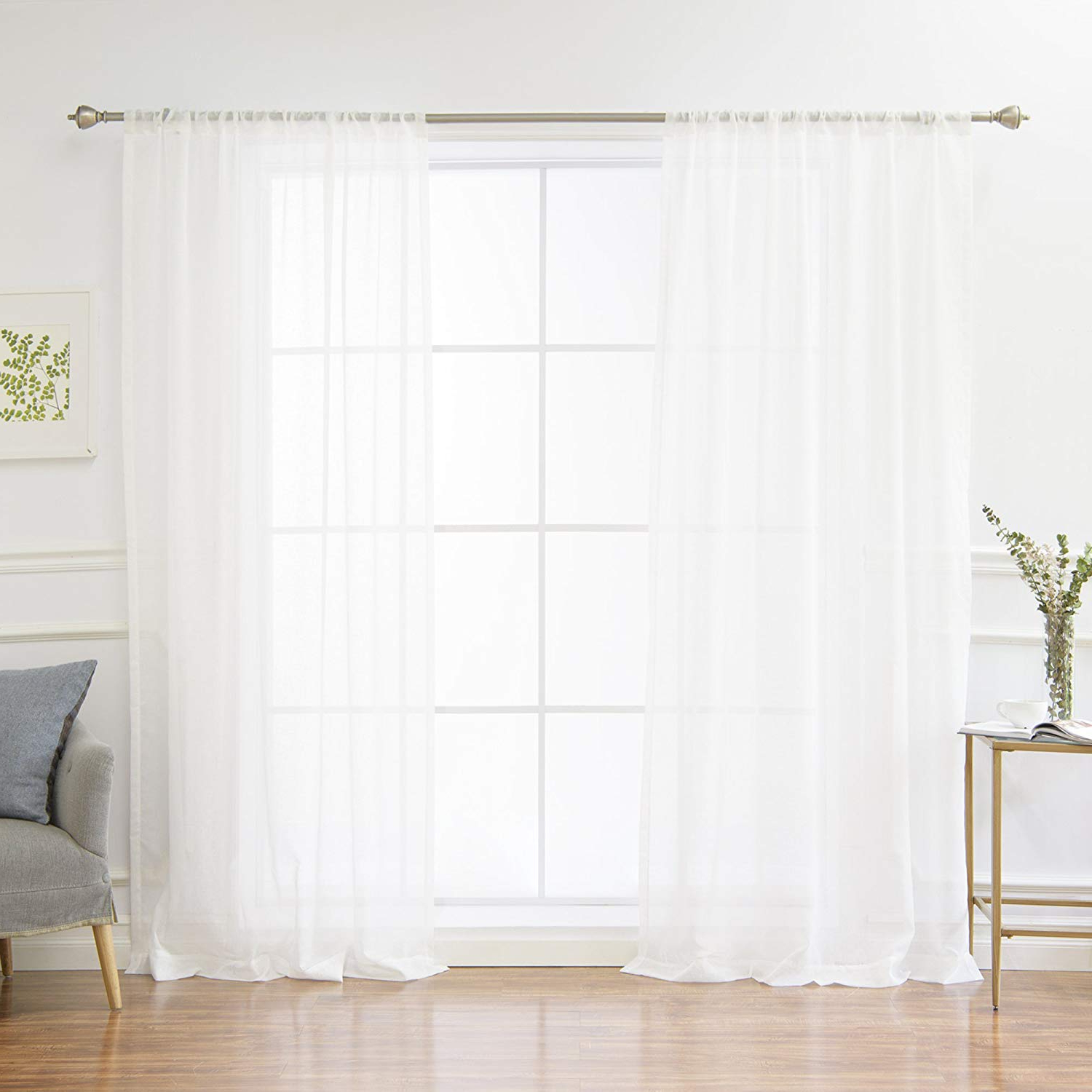 White Linen Curtain Panels – Recipes With More Regarding Well Liked Tassels Applique Sheer Rod Pocket Top Curtain Panel Pairs (View 20 of 20)