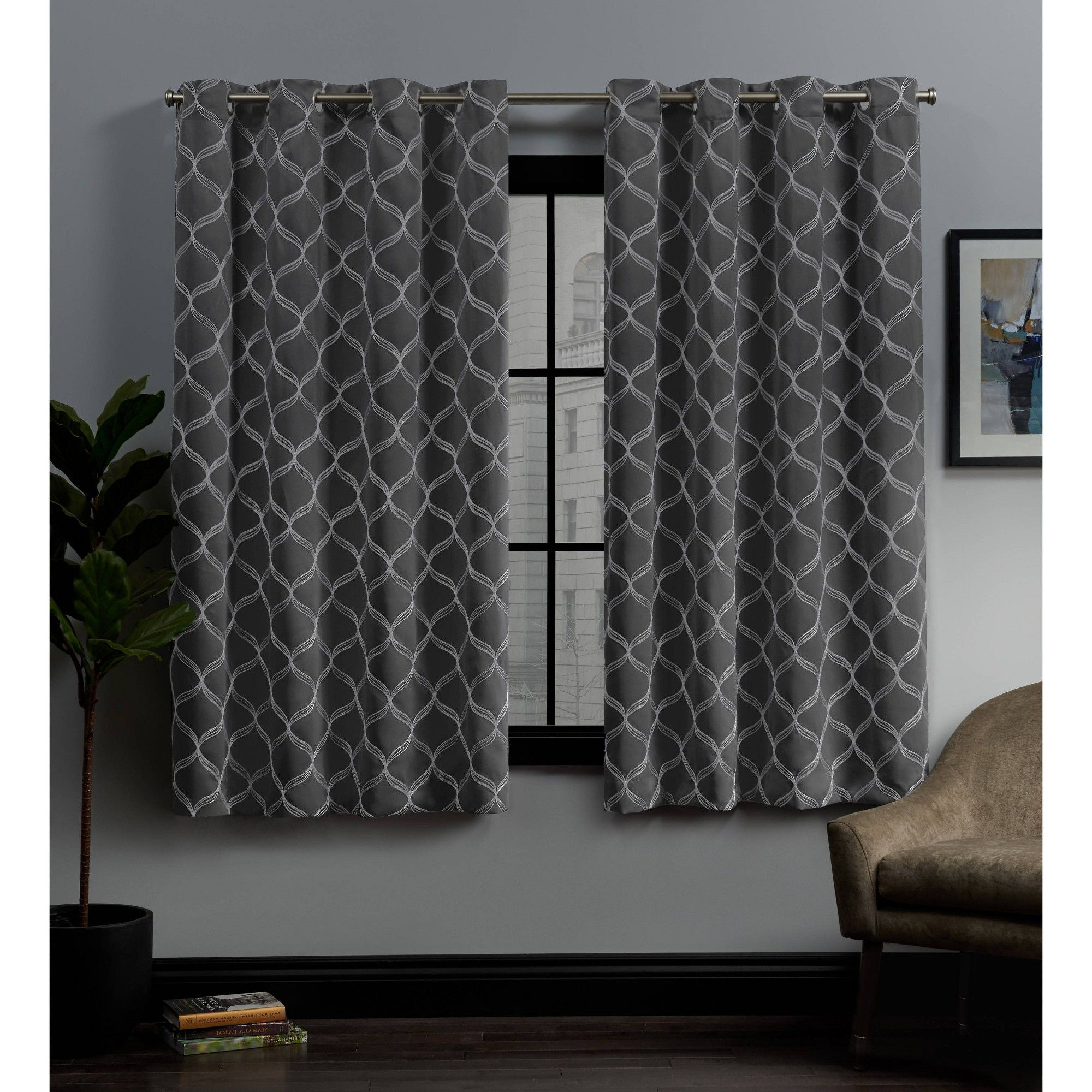 "Widely Used 52""x84"" Amelia Embroidered Grommet Top Blackout Window Regarding Bethany Sheer Overlay Blackout Window Curtains (View 12 of 20)"