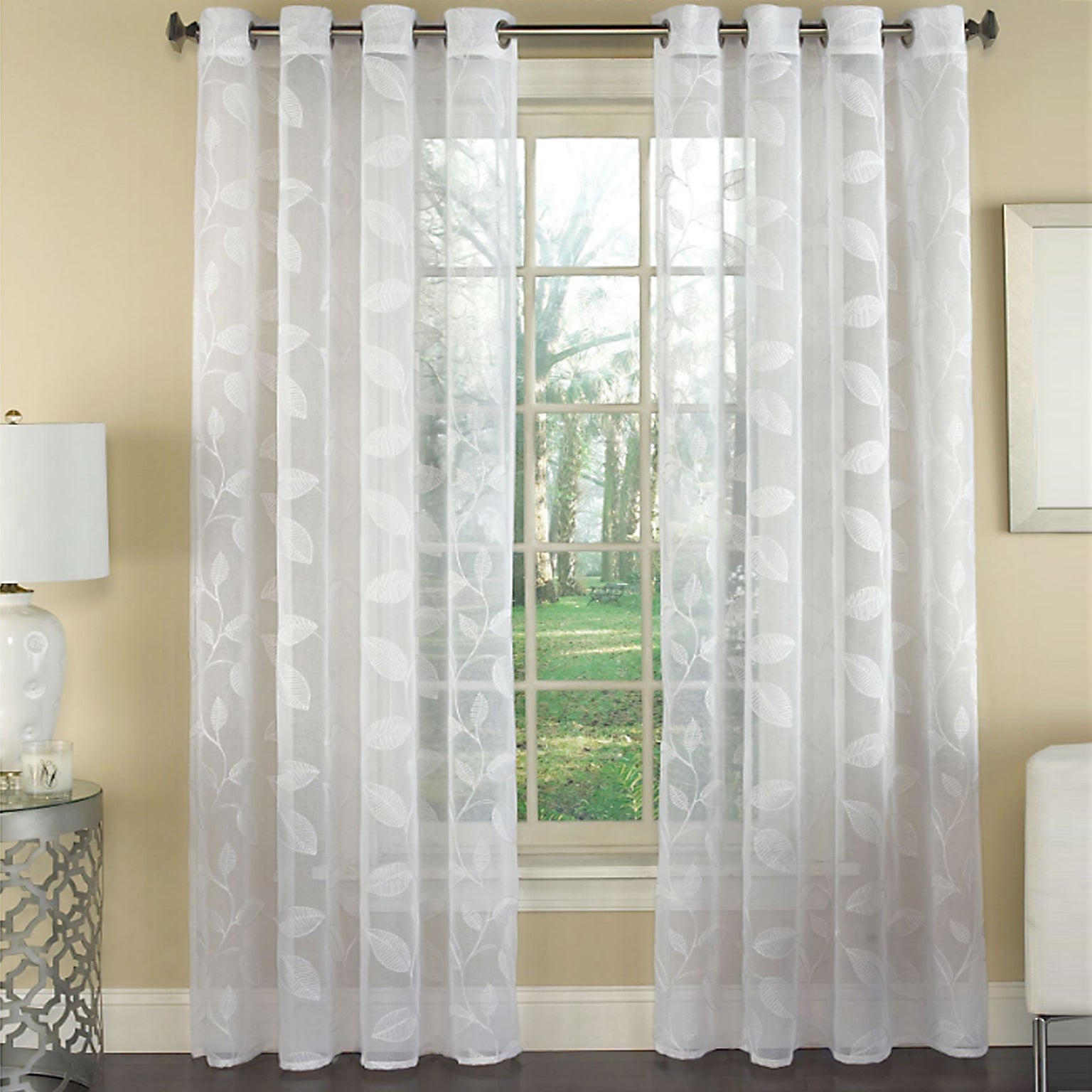 Widely Used Avery Semi Sheer Embroidered Leaf Faux Linen Grommet Window Curtain Panel – 84x53 Pertaining To Kida Embroidered Sheer Curtain Panels (View 10 of 20)