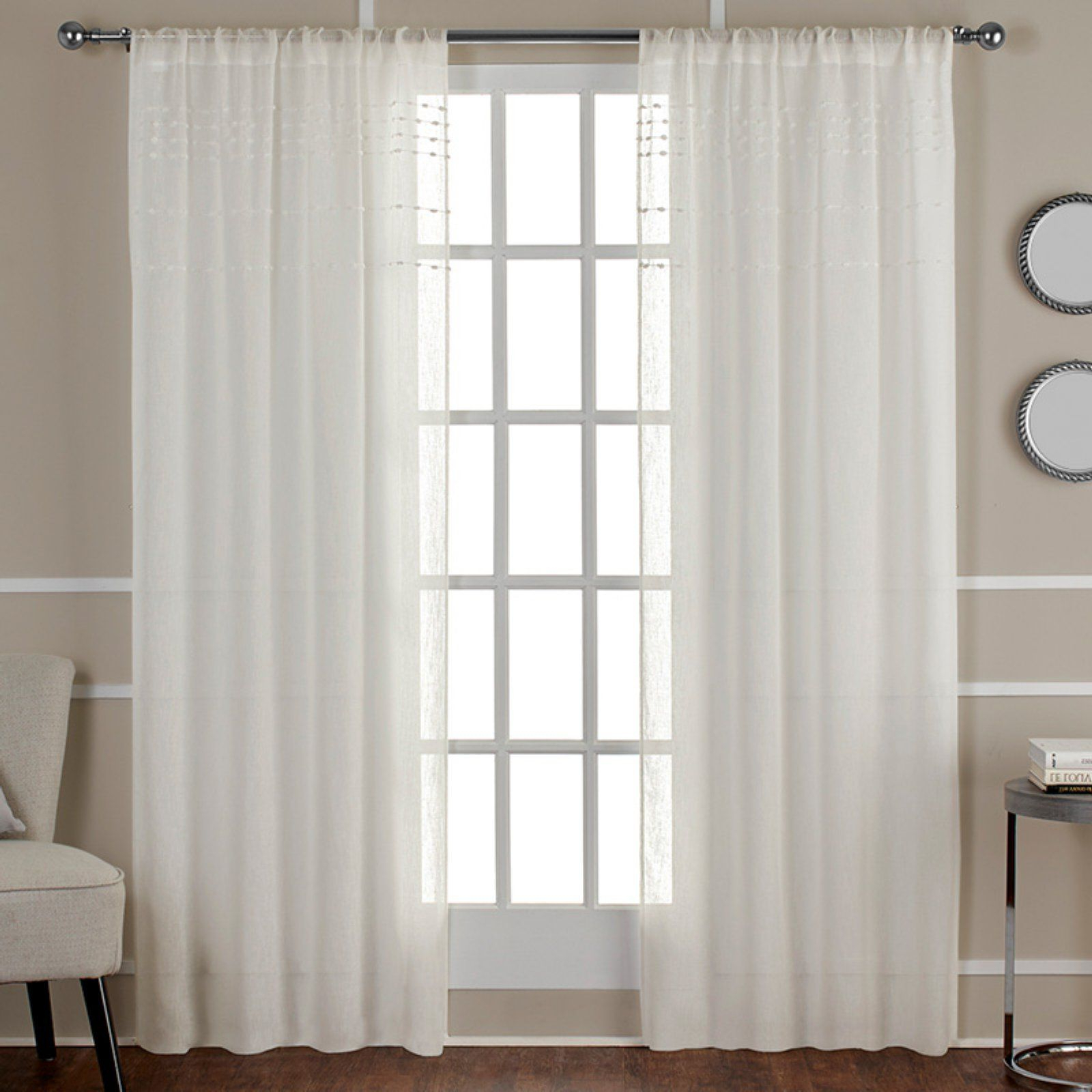 Widely Used Belgian Sheer Window Curtain Panel Pairs With Rod Pocket Within Exclusive Home Davos Puff Embellished Belgian Sheer Window (View 9 of 20)