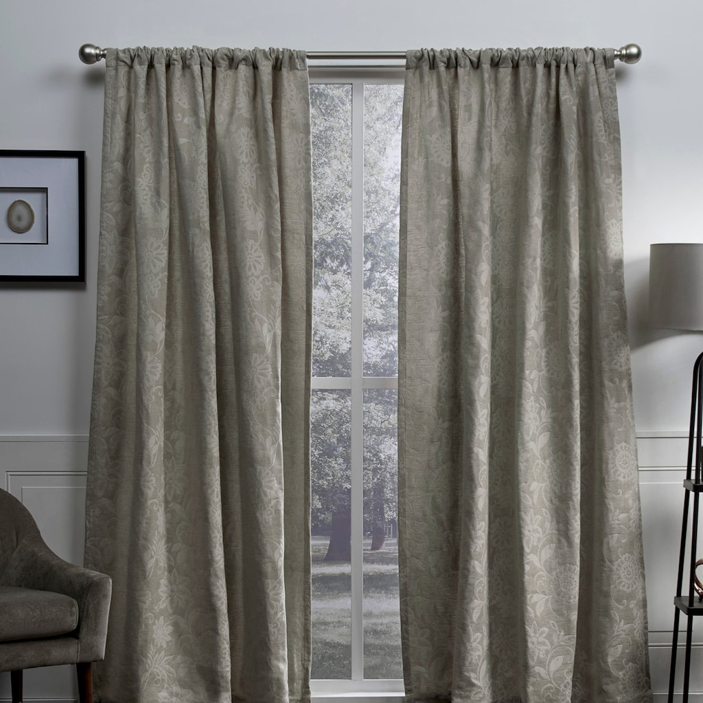 Widely Used Bethany Sheer Overlay Blackout Window Curtains Inside Exclusive Home 2 Pack Elle Chenille Floral Scroll Woven (View 20 of 20)