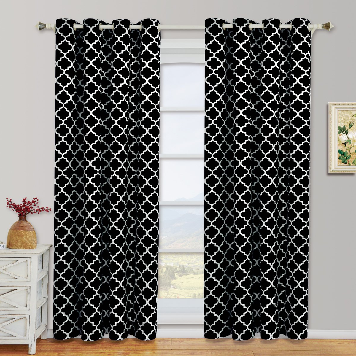 Widely Used Black & White Curtains Seasonal Sale – Ease Bedding With Style With Regard To Edward Moroccan Pattern Room Darkening Curtain Panel Pairs (View 20 of 20)