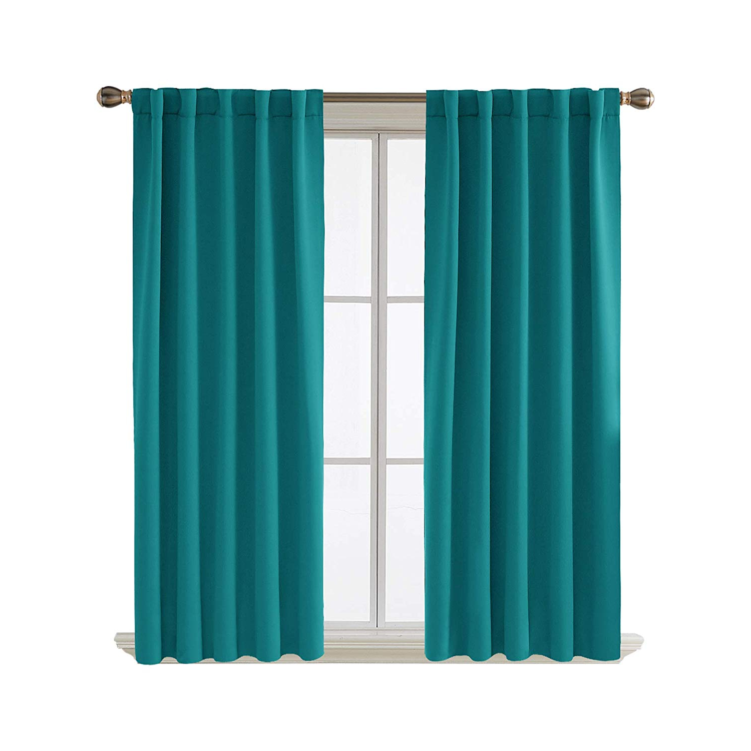 Widely Used Deconovo Short Blackout Curtains For Kitchen Windows Rod Pocket And Back  Tab Curtains 42X45 Inch Turquoise 2 Panels In Ultimate Blackout Short Length Grommet Panels (View 20 of 20)