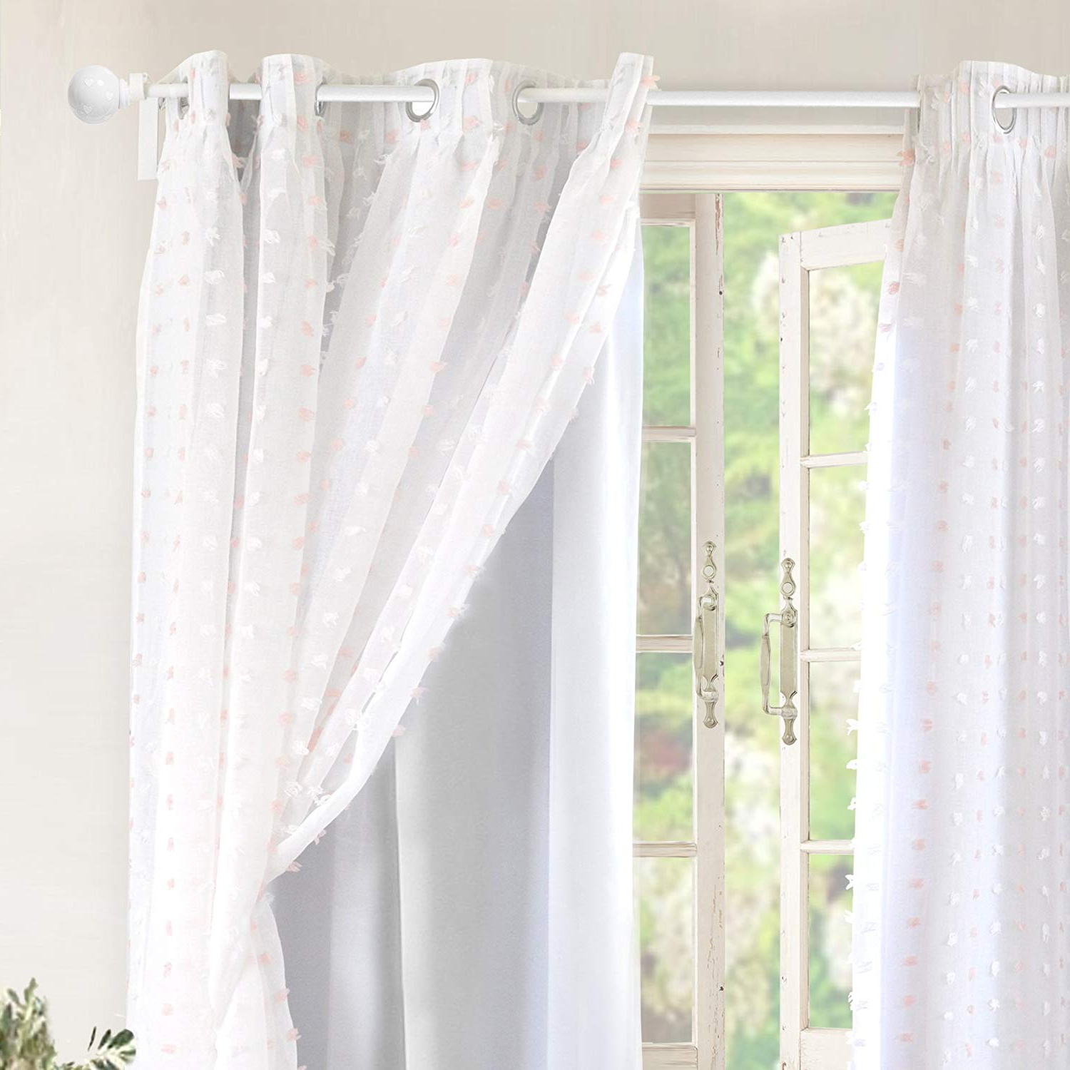 Widely Used Double Layer Sheer White Single Curtain Panels Throughout Driftaway Lily White Pinch Pleated Voile Sheer Blackout Curtain Liner  Embroidered With Pom Pom One Panel Two Layers Grommet Curtain For Kids  Nursery (View 20 of 20)