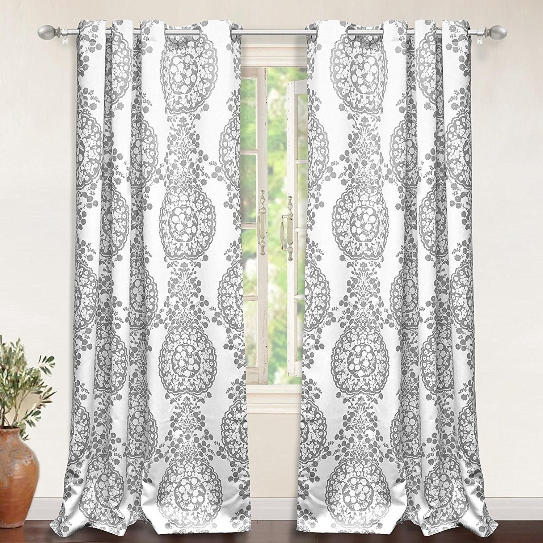Featured Photo of Pastel Damask Printed Room Darkening Grommet Window Curtain Panel Pairs