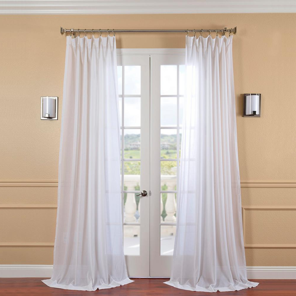 Widely Used Exclusive Fabrics & Furnishings White Orchid Faux Linen Sheer Curtain – 50 In. W X 96 In (View 14 of 20)