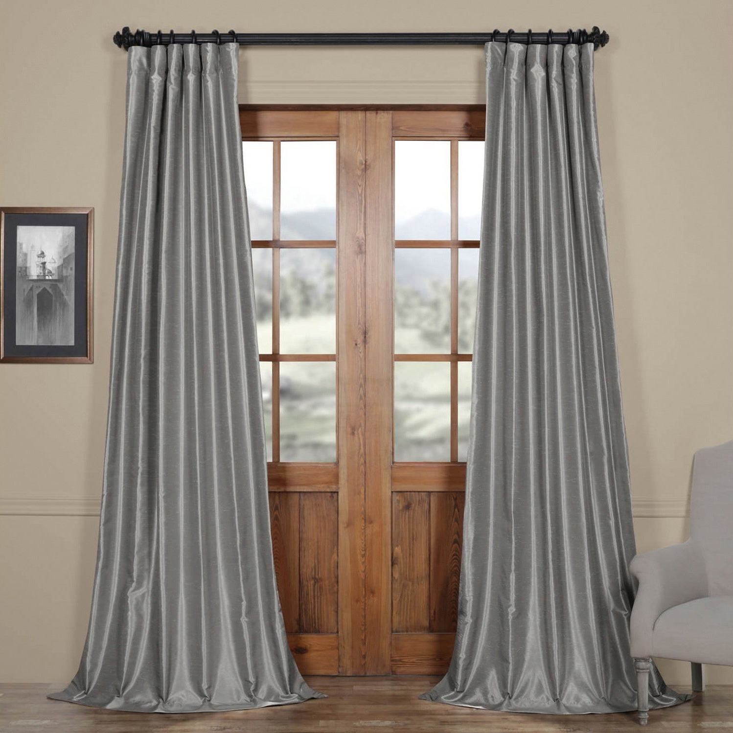 Featured Photo of Silver Vintage Faux Textured Silk Curtain Panels