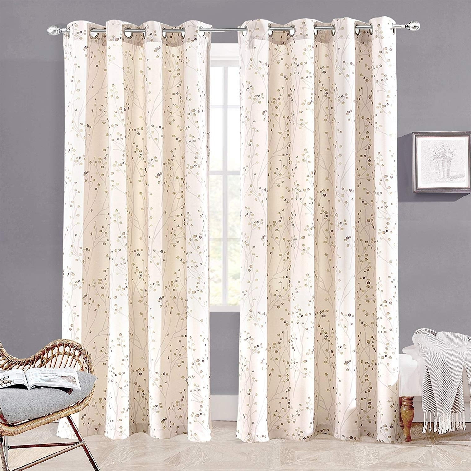 "Widely Used Floral Pattern Room Darkening Window Curtain Panel Pairs Within Driftaway Harper Ink Floral Pattern Room Darkening Window Curtain Panel Pair – 50""widthx84""length (View 3 of 20)"