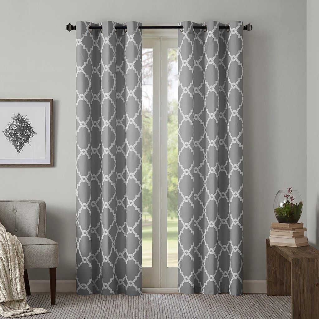 Widely Used Grey & White Fretwork Design Curtain Panels And Similar Items Intended For Fretwork Print Pattern Single Curtain Panels (View 20 of 20)