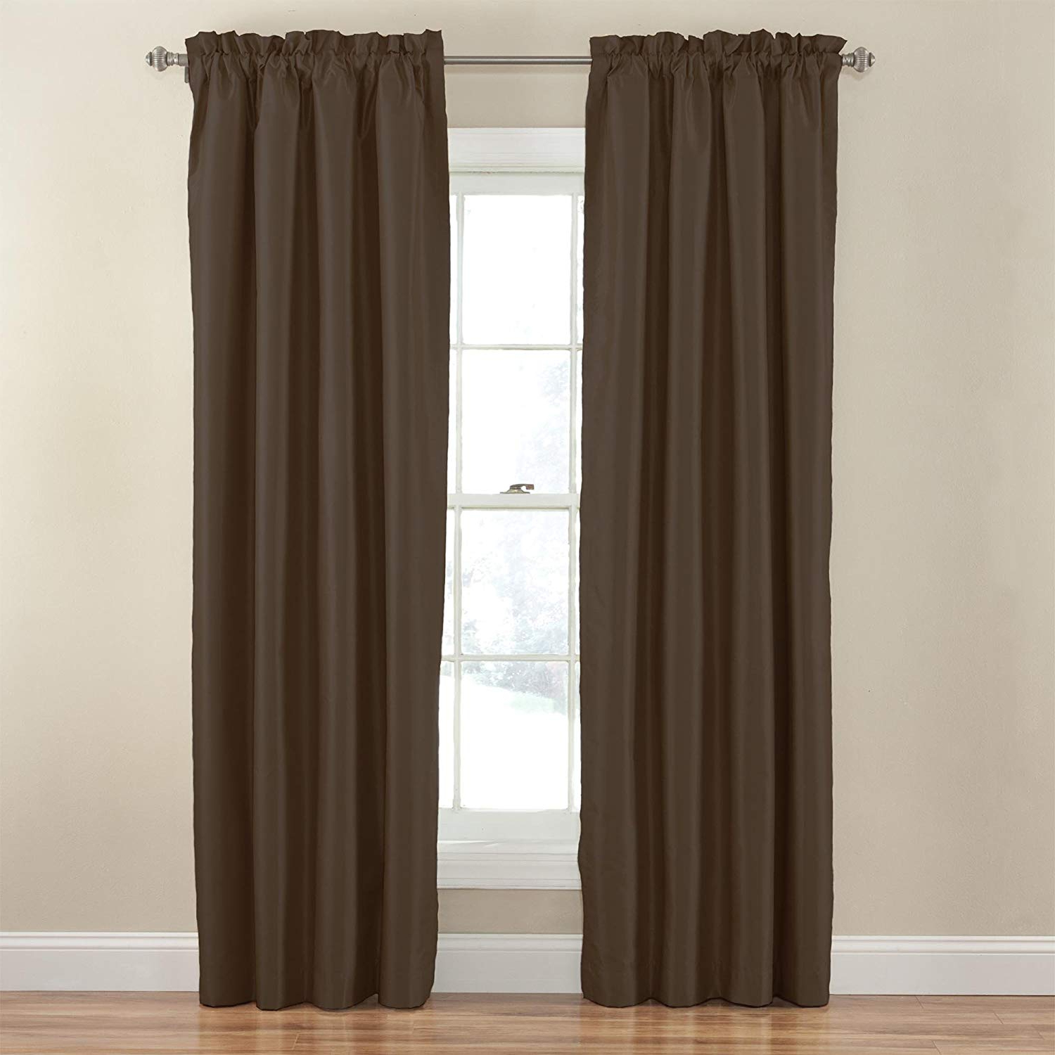 Widely Used Hayden Rod Pocket Blackout Panels For Eclipse 14383042X063Esp Hayden Solid 42 Inch63 Inch Blackout Single  Window Curtain Panel, Espresso (View 20 of 20)