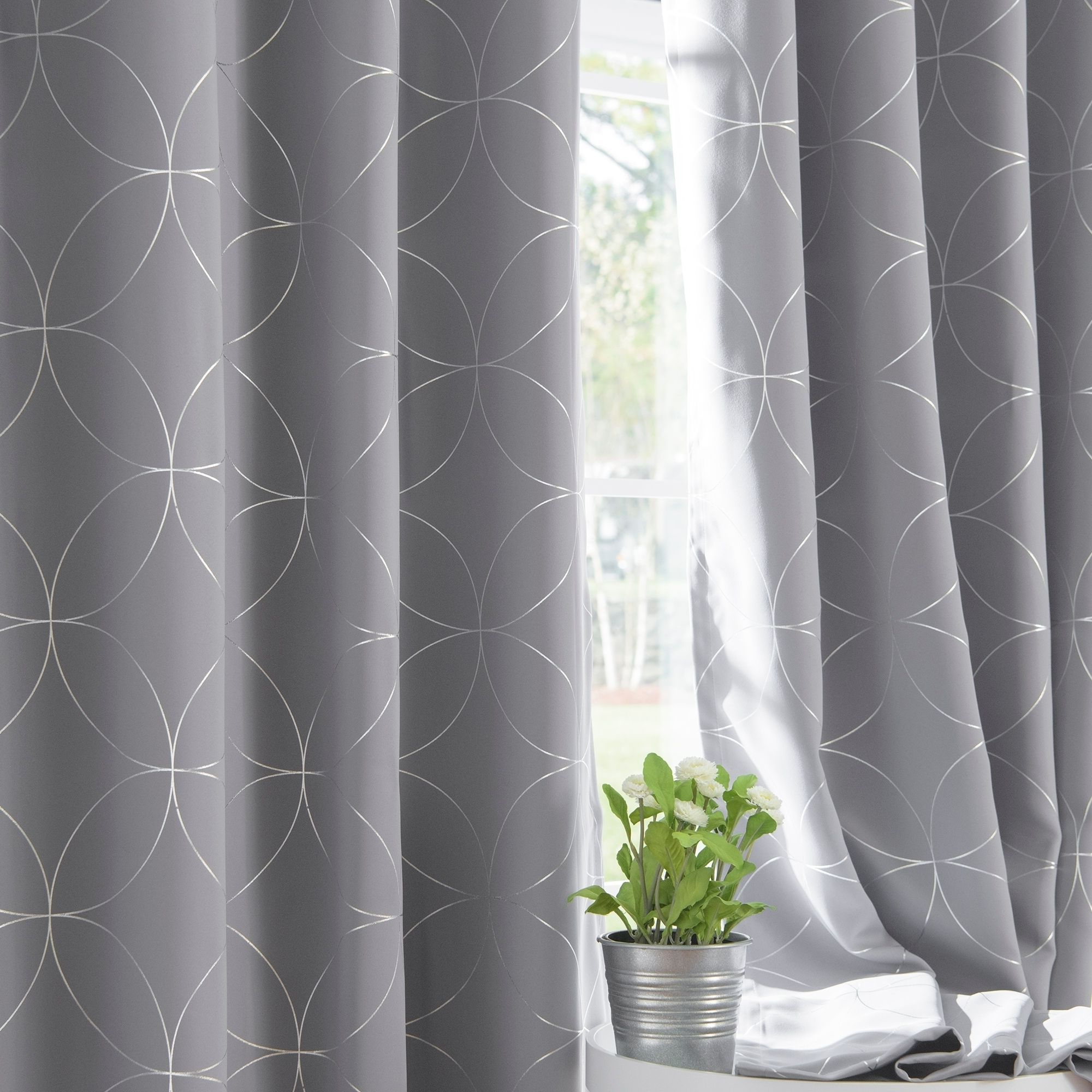 Widely Used Keyes Blackout Single Curtain Panels Throughout Aurora Home Circle 84 Inch Foil Printed Blackout Curtain (View 8 of 20)