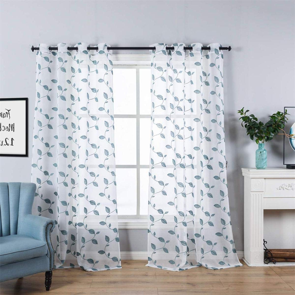 Widely Used Kida Embroidered Sheer Curtain Panels Within Taisier Home Teal Embroidered Leaves Sheer Curtains Floral Sheer Curtains For Kids Living Room White Voile Window Curtain Panels Ring Top 52 X 95 Inch (View 6 of 20)