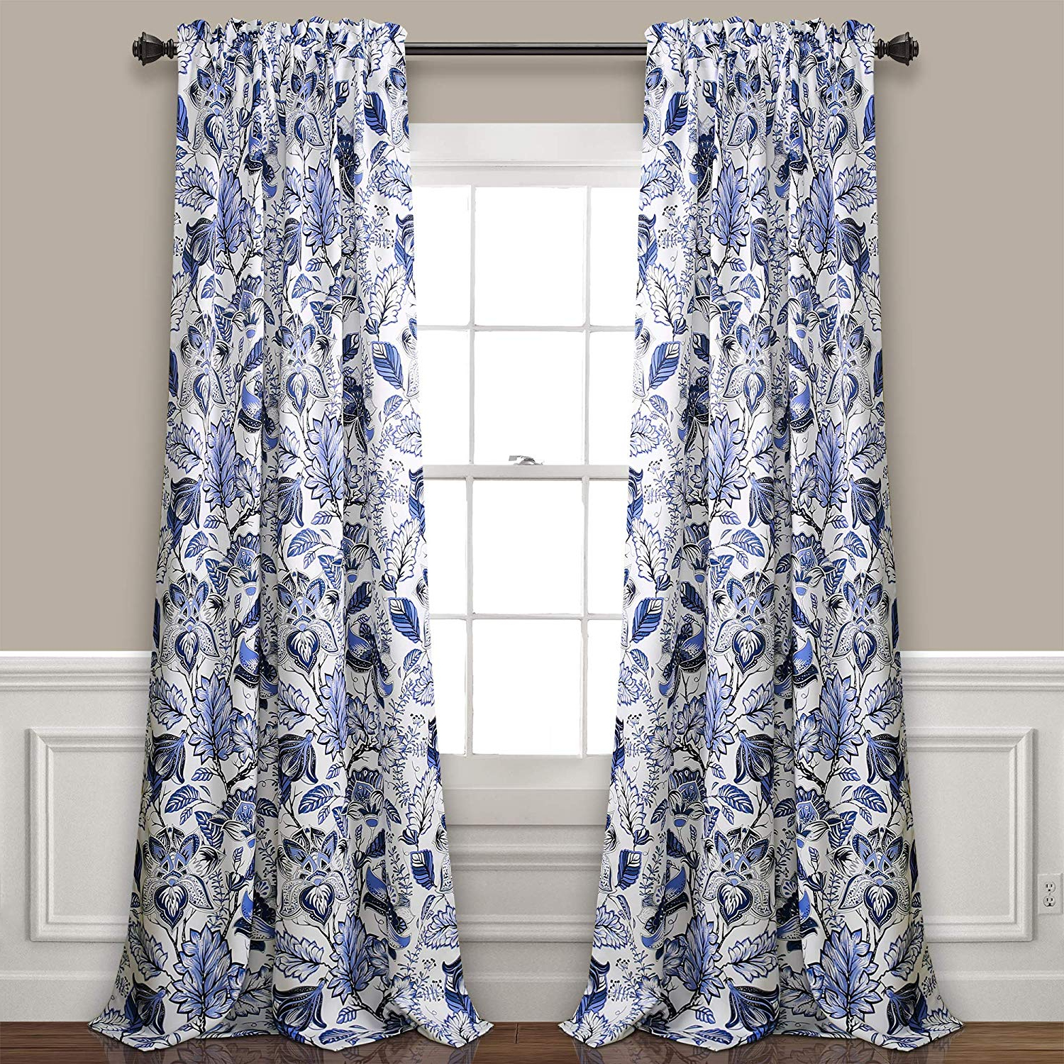 Featured Photo of Cynthia Jacobean Room Darkening Curtain Panel Pairs