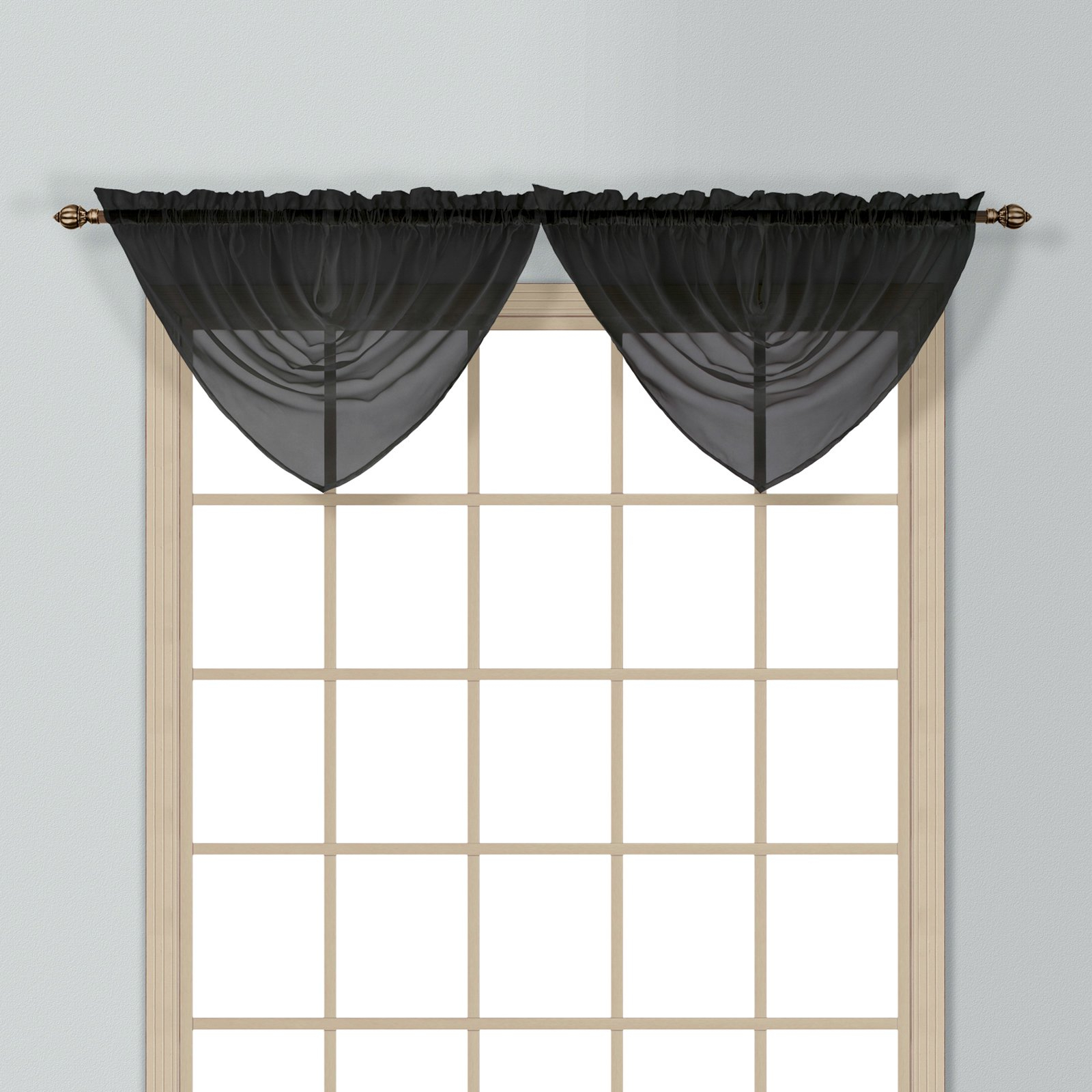 """Widely Used Luxury Collection Monte Carlo Sheer Curtain Panel Pairs Throughout Monte Carlo 40"""" X 22"""" Window Curtain Ascot Valance Black (View 9 of 20)"""