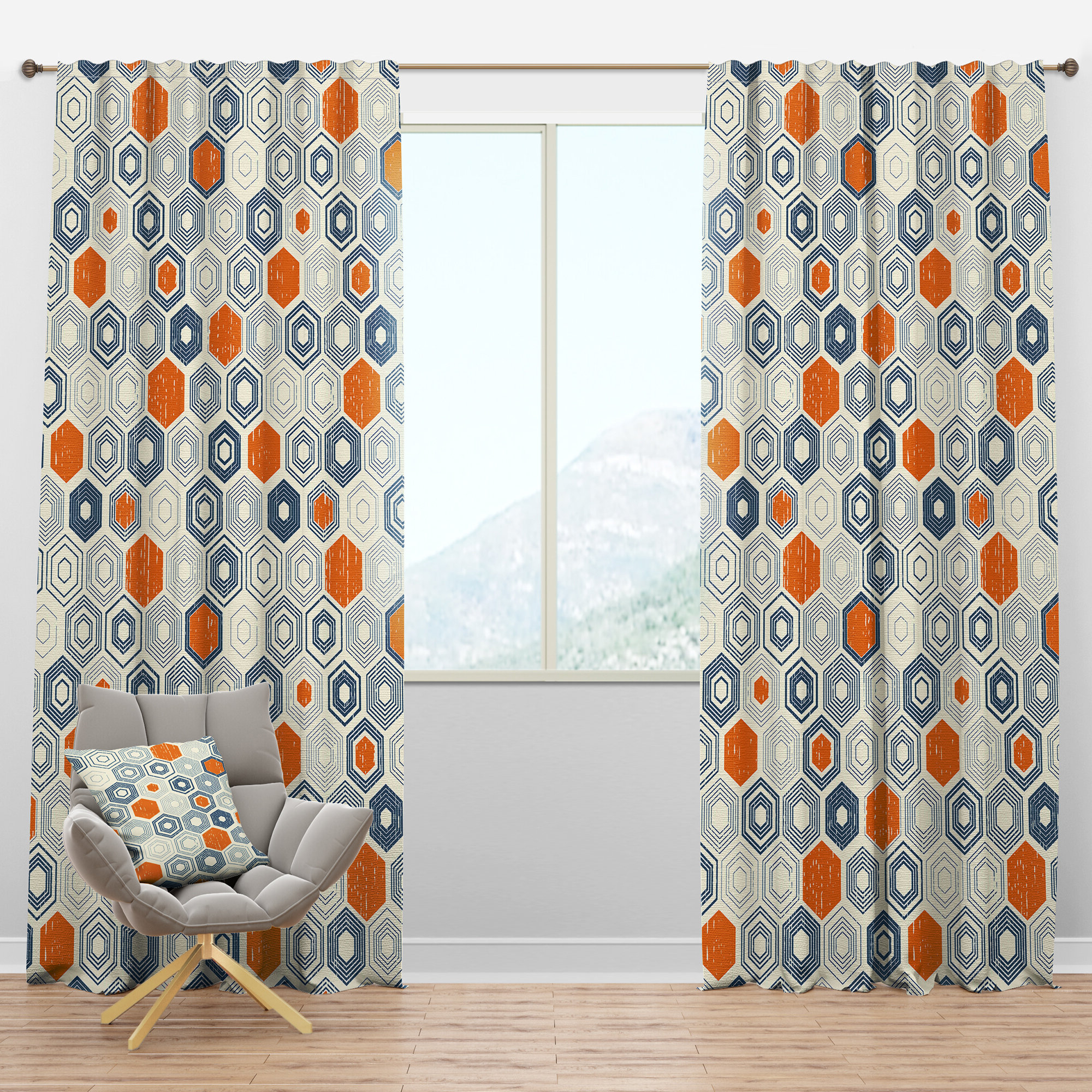 Widely Used Mid Century Geo Room Darkening Window Curtain Panel Pairs With Mid Century Hexagon Ix Geometric Semi Sheer Thermal Rod Pocket Curtain Panels (View 18 of 22)