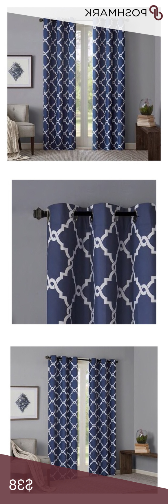 Widely Used Nwot Indigo Geometric Grommet Top Curtain Panels Nwot (View 11 of 20)