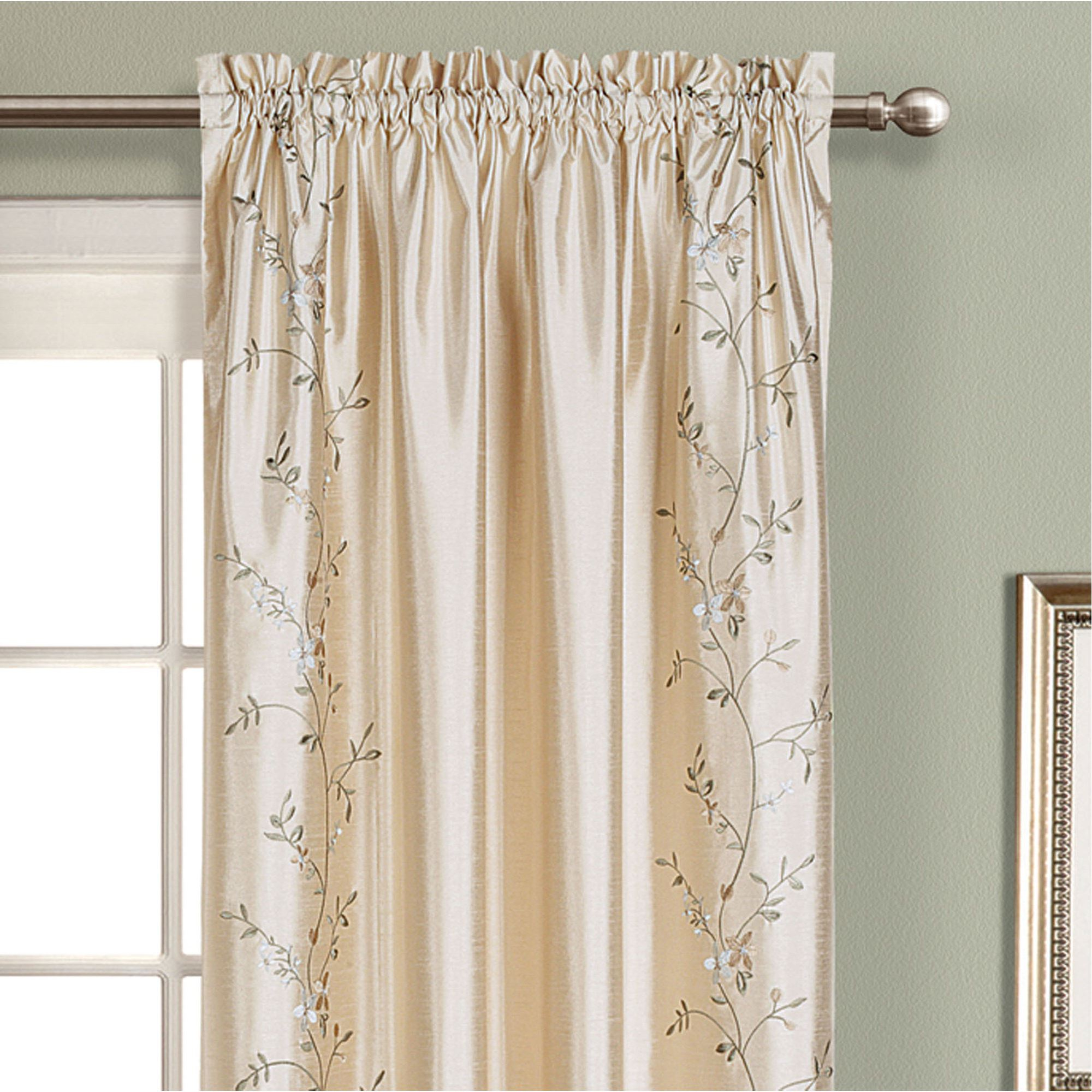 Featured Photo of Ofloral Embroidered Faux Silk Window Curtain Panels
