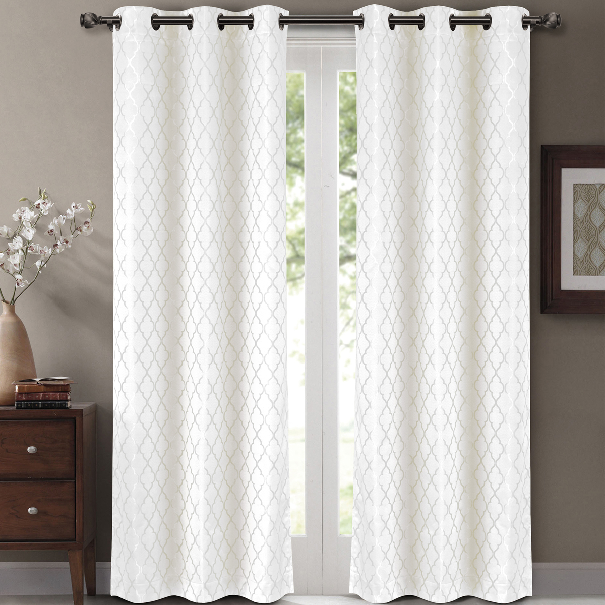 "Widely Used Pair ( Set Of 2) Willow Thermal Insulated Blackout Curtain Panels – White – W84 X L63"" – Walmart Regarding Antique Silver Grommet Top Thermal Insulated Blackout Curtain Panel Pairs (View 13 of 20)"