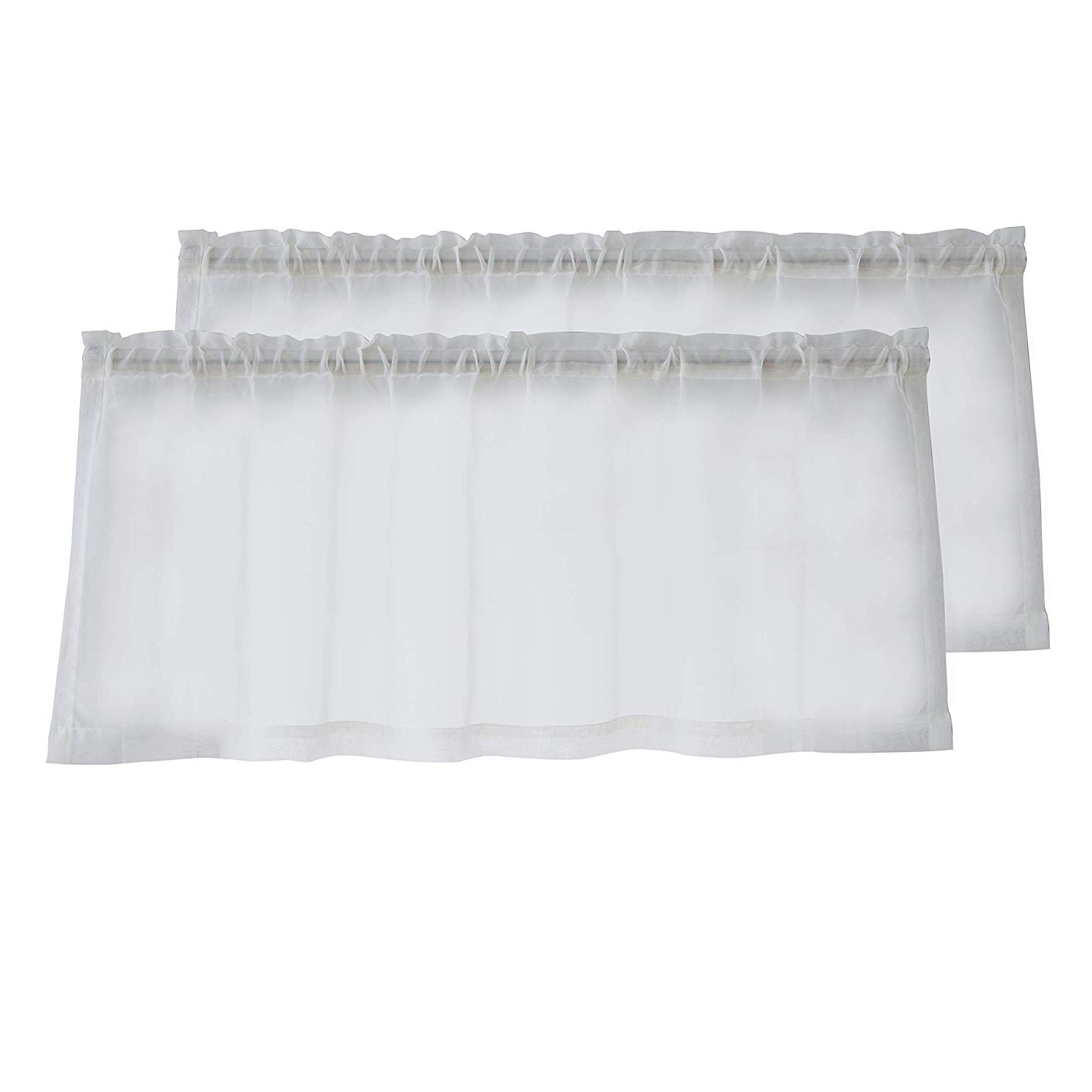 "Widely Used Sheer Voile Ruffled Tier Window Curtain Panels Pertaining To Buy Hlc Ivory 50"" X 18"" Inch Length Café Tier Valance (View 19 of 20)"