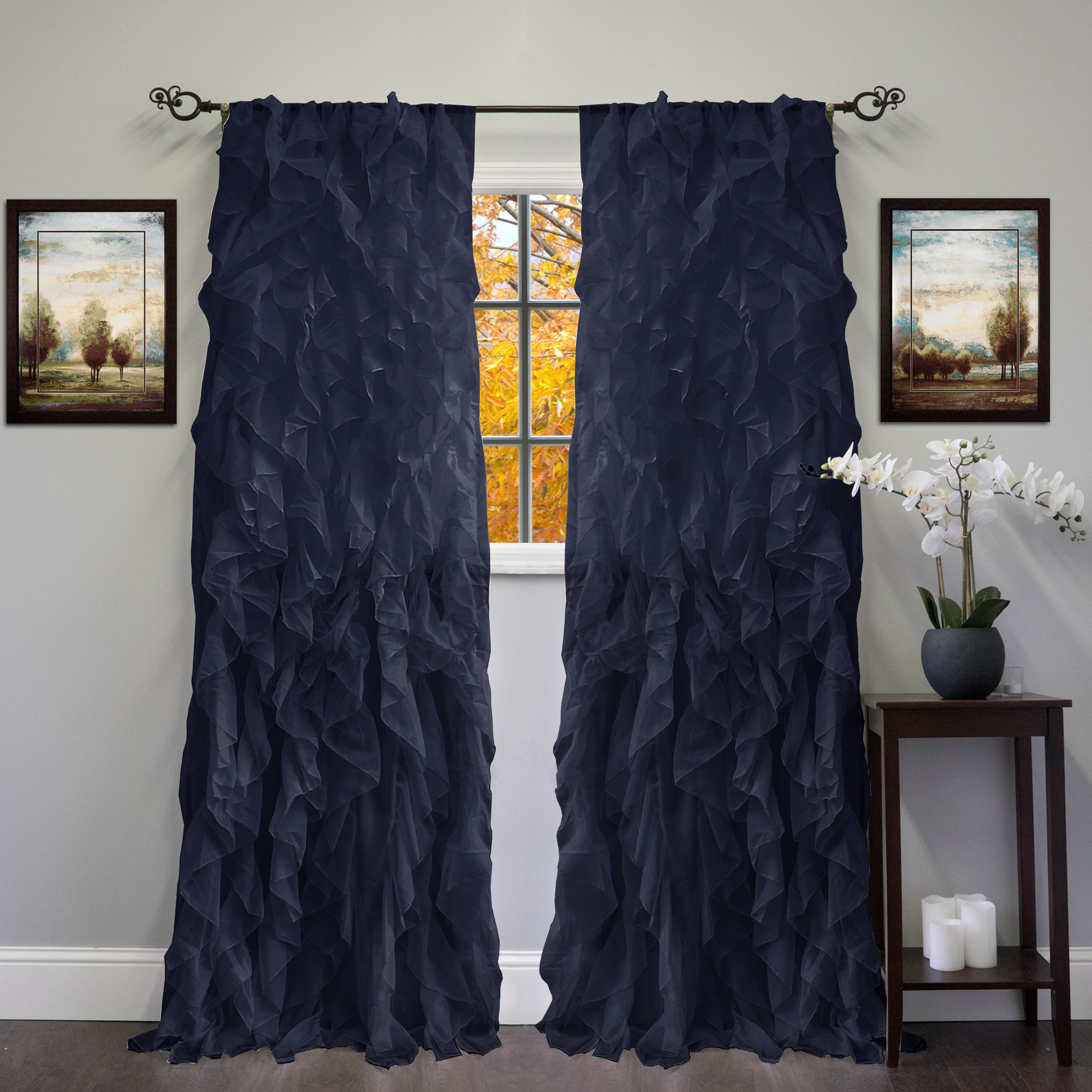 "Widely Used Sheer Voile Ruffled Tier Window Curtain Panels Regarding Chic Sheer Voile Vertical Ruffled Tier Window Curtain Single Panel 50"" X 108"" (View 4 of 20)"