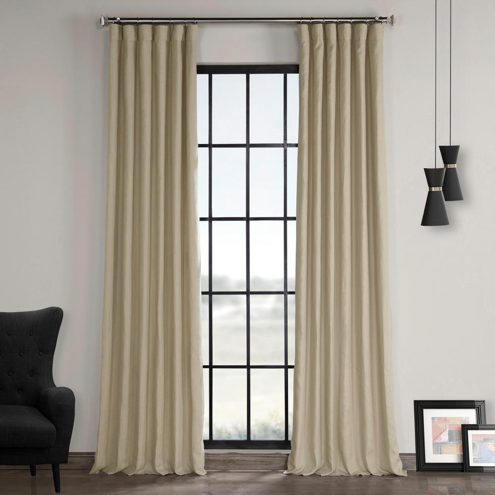 Widely Used Signature French Linen Curtain Panels Regarding Exclusive Fabrics & Furnishings Fresh Khaki Brown French Linen Curtain – 50  In. W X 120 In (View 20 of 20)