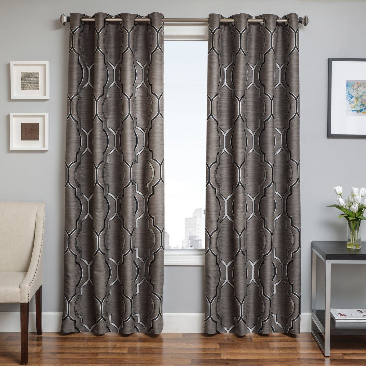 Widely Used Softline Trenton Grommet Top Curtain Panel With Regard To The Curated Nomad Duane Jacquard Grommet Top Curtain Panel Pairs (View 8 of 21)