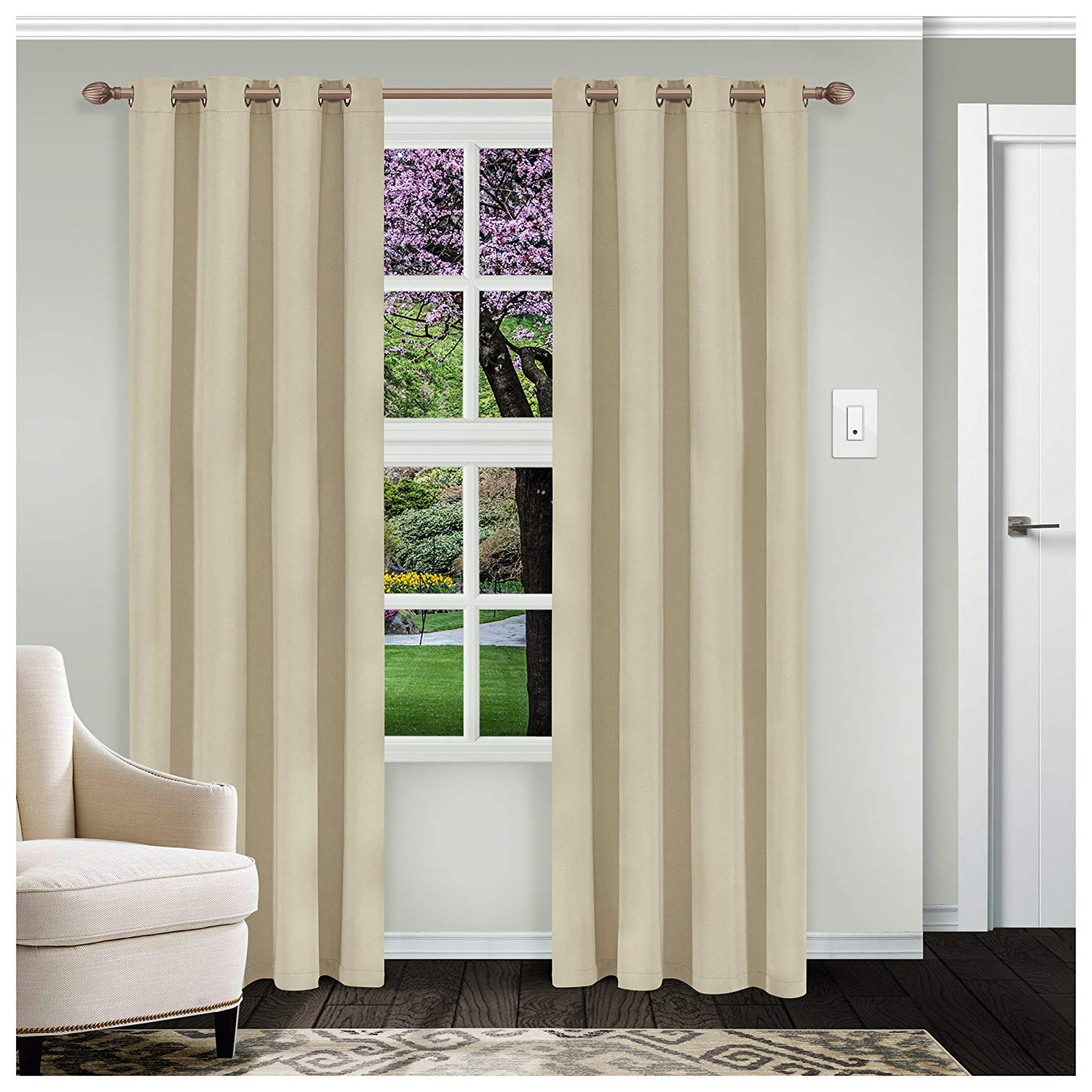 Widely Used Solid Insulated Thermal Blackout Curtain Panel Pairs Intended For Superior Classic Solid Blackout 2 Panel Curtains (52 X84), Ivory (View 15 of 20)