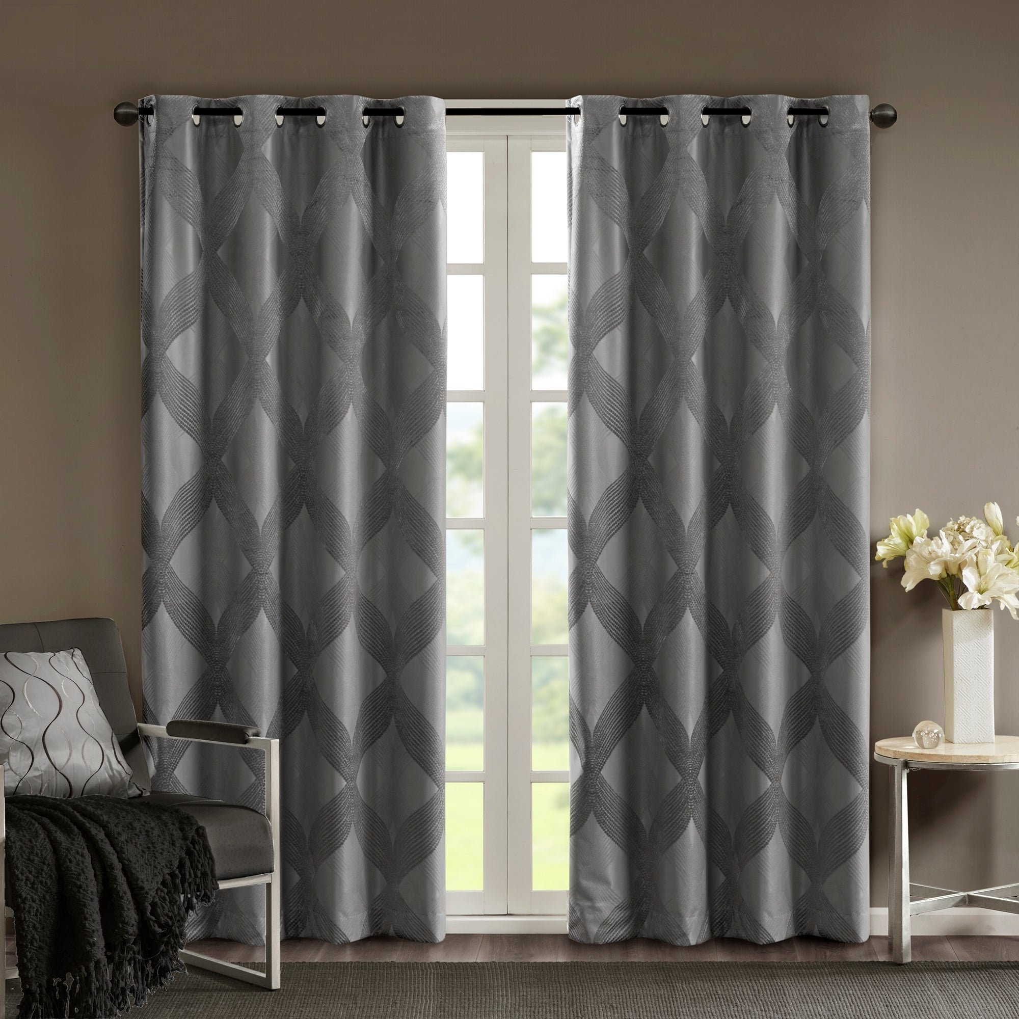 Widely Used Sunsmart Abel Ogee Knitted Jacquard Total Blackout Curtain Panels With Sunsmart Abel Ogee Knitted Jacquard Total Blackout Curtain Panel (View 2 of 20)