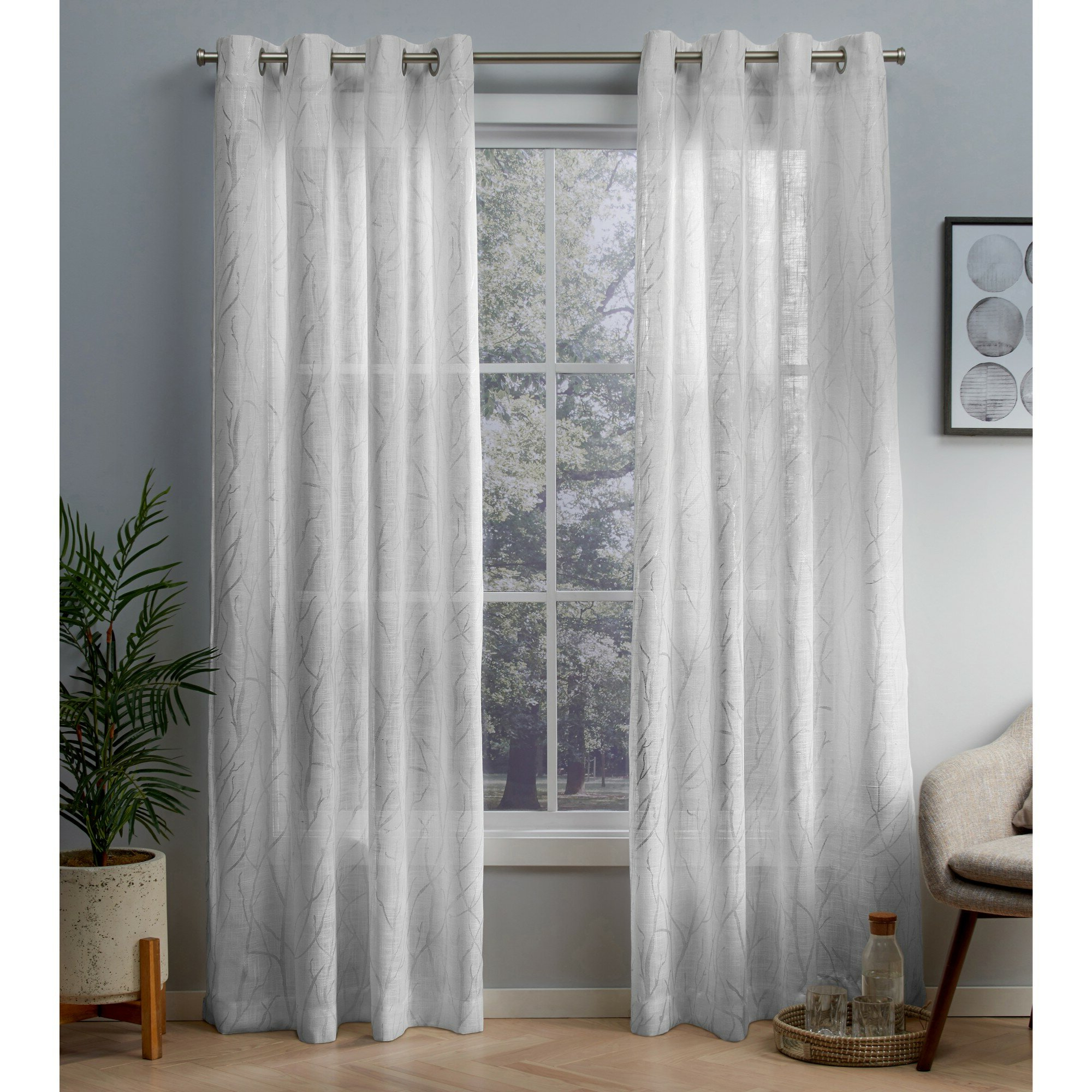 Widely Used Total Blackout Metallic Print Grommet Top Curtain Panels For Ophelia & Co (View 14 of 20)